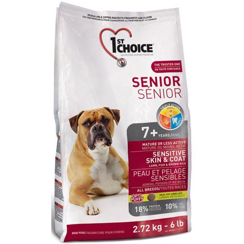 Корм сухой 1st Choice Senior для пожилых или малоактивных собак с чувствительной кожей и шерстью, с ягненком, рыбой и рисом, 2,72 кг56688Сухой корм 1st Choice Senior - полноценный сбалансированный корм для собак (от 7 лет и старше). Он идеален для пожилого животного. Корм на основе ягнёнка и рыбы будет очень полезен собакам с чувствительной кожей, так как содержит белки, известные своими гипоаллергенными свойствами. Ингредиенты: мука из мяса ягненка 11%, мука из сельди 10%, коричневый рис 10%, рисовые отруби, сушеный картофель, дробленый рис, мякоть свеклы, коричневый рис, ячменная крупа, овсяная крупа, гидролизат куриной печени, цельное семя льна, жир лосося, сушеная мякоть томата, экстракт цикория, соль, экстракт дрожжей (источник маннан-олигосахаридов), экстракт цикория (источник инулина), экстракт юкки, сушеная мята, сушеная петрушка, экстракт зеленого чая, панцирь мелких креветок и панцирь краба. Анализ: протеин 18%, жир 10%, сырая клетчатка 4%, зола 9%, кальций 1,5%, фосфор 1,2%, глюкозамина сульфат 500 мг/кг, хондроитина сульфат 250 мг/кг. Добавки на кг: E672 (витамин А)...