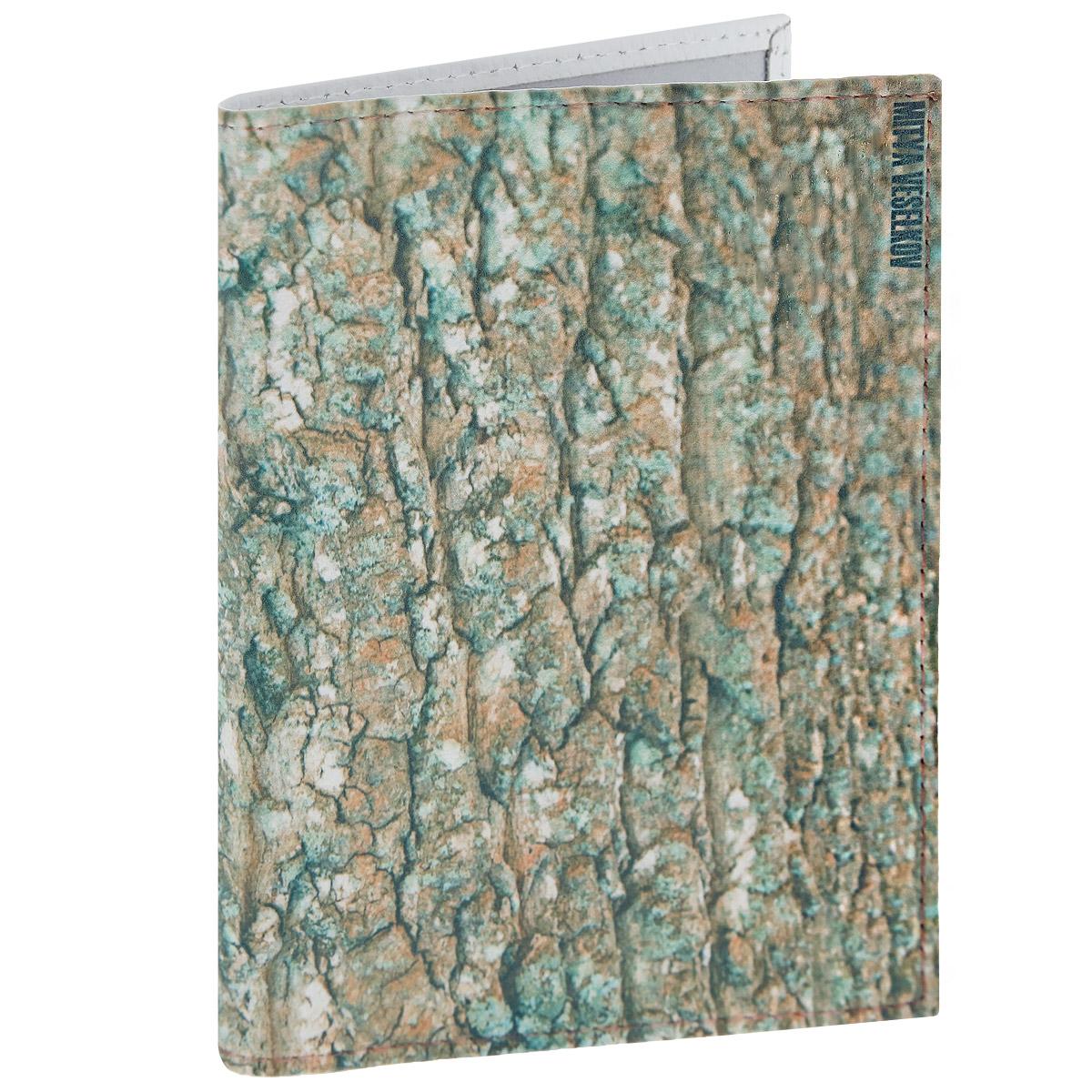 Обложка для паспорта Mitya Veselkov Кора, цвет: зеленый. OK120OK120Обложка для паспорта Mitya Veselkov Кора выполнена из натуральной кожи и стилизована под древесную кору. Такая обложка не только поможет сохранить внешний вид ваших документов и защитит их от повреждений, но и станет стильным аксессуаром, идеально подходящим вашему образу. Яркая и оригинальная обложка подчеркнет вашу индивидуальность и изысканный вкус. Обложка для паспорта стильного дизайна может быть достойным и оригинальным подарком.