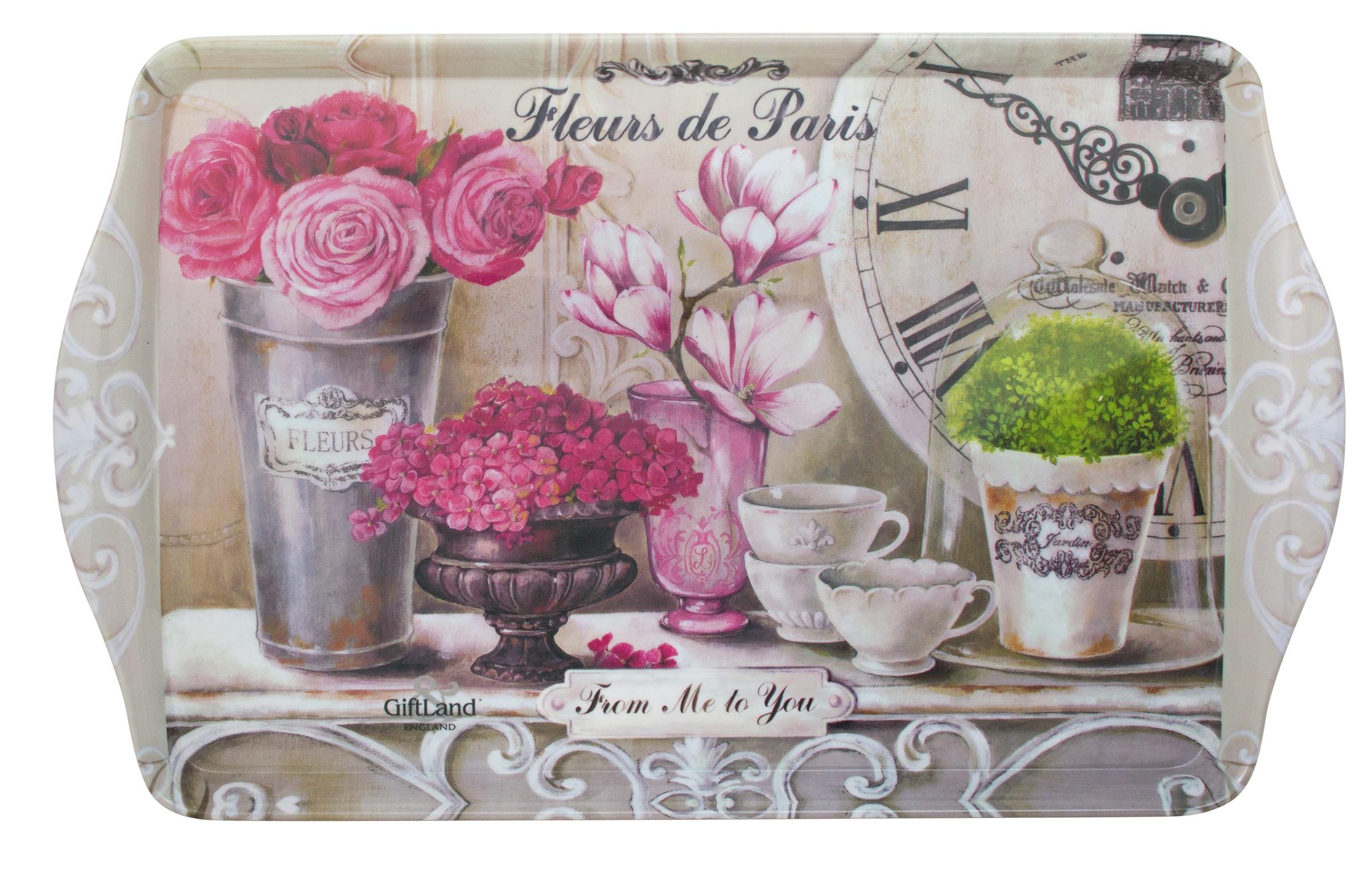 Поднос сервировочный GiftLand Парижские цветы, 38,8 x 24 смML-001 FleursПрямоугольный поднос GiftLand Парижские цветы выполнен из высококачественного и жаропрочного пластика и украшен изображением цветов. Красочный дизайн подноса придаст оригинальность и яркость любой кухне или столовой. Такой поднос станет незаменимым предметом для сервировки стола. Компактный поднос предохранит поверхность стола от грязи и перегрева. Изделие устойчиво к высоким температурам. Можно мыть в посудомоечной машине и использовать в микроволновой печи. Размер подноса: 38,8 см x 24 см. Высота подноса: 2,2 см.