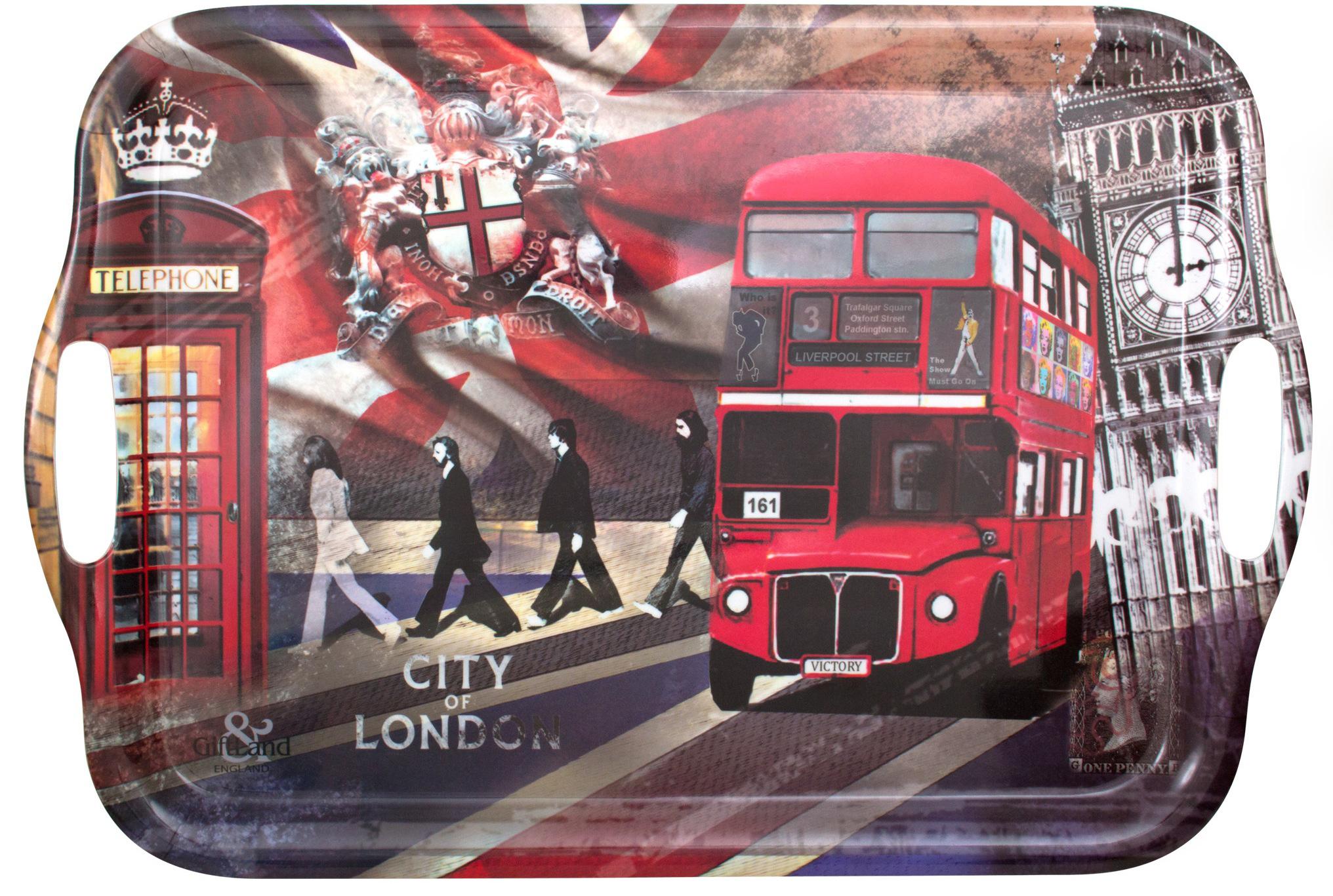 Поднос сервировочный GiftLand London Dreams, 47 x 32 смML004-L1Прямоугольный поднос GiftLand London Dreams выполнен из высококачественного, жаропрочного пластика и украшен изображением Лондона. Красочный дизайн подноса придаст оригинальность и яркость любой кухне или столовой. Поднос оснащен ручками, благодаря которым, его удобно переносить. Такой поднос станет незаменимым предметом для сервировки стола. Вместительный поднос предохранит поверхность стола от грязи и перегрева. Размер подноса: 47 см x 32 см. Высота подноса: 2 см.