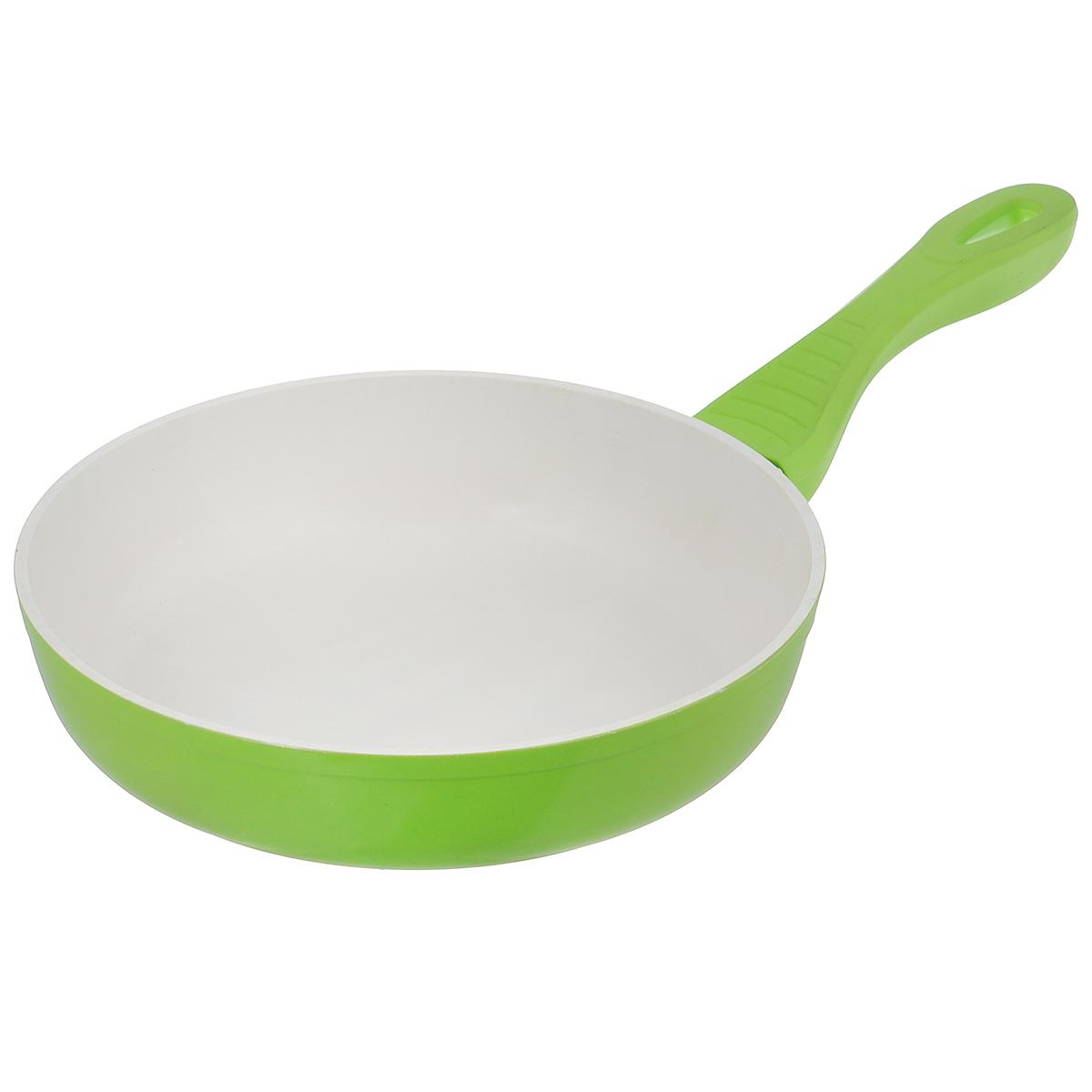 Сковорода Mayer & Boch, с керамическим покрытием, цвет: салатовый. Диаметр 28 см. 2220322203Сковорода Mayer & Boch изготовлена из алюминия с высококачественным керамическим покрытием. Керамика не содержит вредных примесей ПФОК, что способствует здоровому и экологичному приготовлению пищи. Кроме того, с таким покрытием пища не пригорает и не прилипает к стенкам, поэтому можно готовить с минимальным добавлением масла и жиров. Гладкая, идеально ровная поверхность сковороды легко чистится, ее можно мыть в воде руками или вытирать полотенцем. Внешнее покрытие - термостойкий лак. Эргономичная ручка специального дизайна, выполненная из пластика с силиконовым покрытием, удобна в эксплуатации. Сковорода подходит для использования на электрических и газовых плитах. Также изделие можно мыть в посудомоечной машине. Высота стенок: 5,5 см. Толщина стенок: 2 мм. Толщина дна: 4 мм. Длина ручки: 18 см.