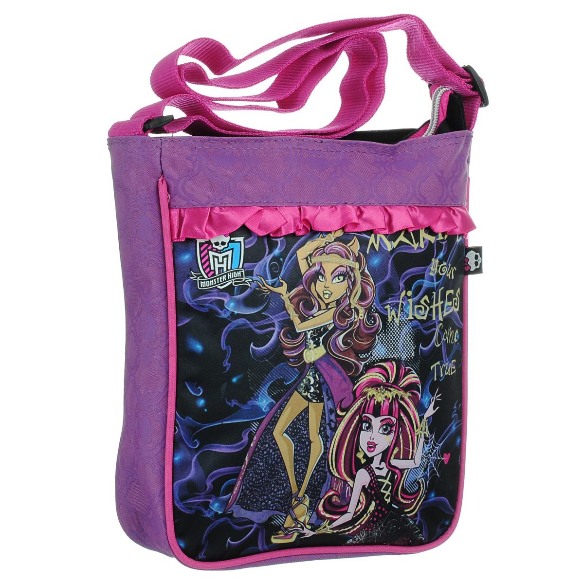 Сумка-планшет Monster High, цвет: розовый, фиолетовый. 8530385303Сумка-планшет Monster High станет незаменимым аксессуаром юной модницы! Она выполнена из полиэстера, оформлена изображением героинь популярного мультсериала Школа Монстров и надписью Making Your Wishes Come True. Также сумку украшают розовые атласные рюши. Сумка имеет одно основное отделение, закрывающееся на металлическую застежку-молнию. Бегунок декорирован резиновым элементом в виде черепа. Внутри расположен вшитый карман на молнии. Сумка снабжена удобным плечевым ремнем регулируемой длины. Максимальная длина ремня - 116 см, минимальная - 58 см. Каждая поклонница Школы Монстров будет в восторге от такого аксессуара!