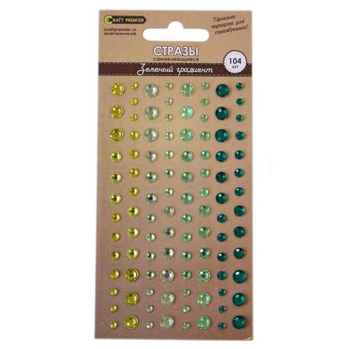 Стразы самоклеющиеся Зеленый градиент Craft Premier, 104шт.23353Декоративный элемент