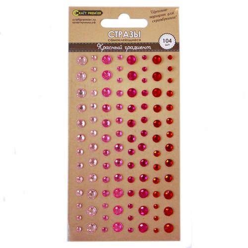 Стразы самоклеющиеся Красный градиент Craft Premier, 104шт.23354Декоративный элемент