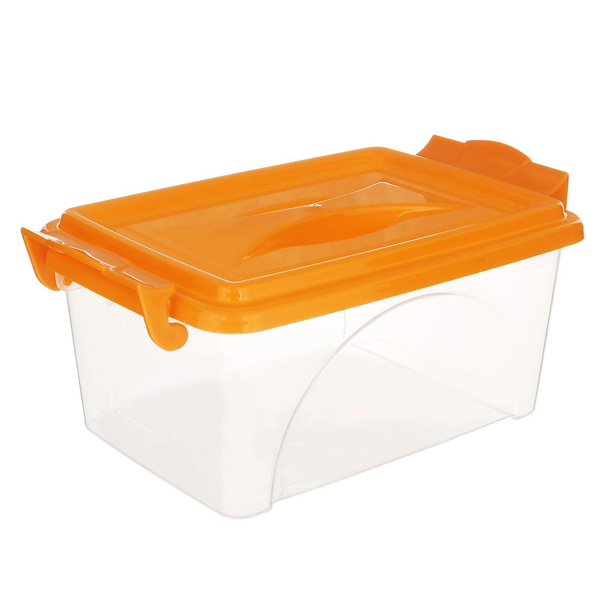Контейнер Альтернатива, цвет: оранжевый, 26,5 см х 16,5 см х 12 смМ421Контейнер Альтернатива выполнен из прочного пластика. Он предназначен для хранения различных бытовых вещей и продуктов. Контейнер оснащен по бокам ручками, которые плотно закрывают крышку контейнера. Также на крышке имеется ручка для удобной переноски. Контейнер поможет хранить все в одном месте, он защитит вещи от пыли, грязи и влаги.