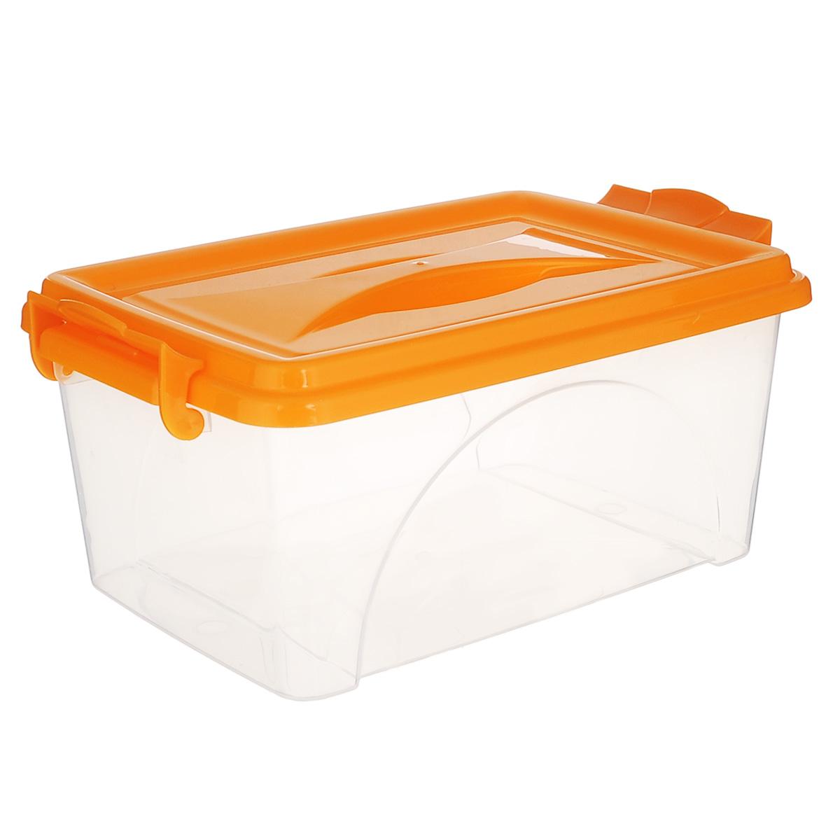 Контейнер Альтернатива, цвет: оранжевый, 30,5 х 20 х 13,5 смМ419Контейнер Альтернатива выполнен из прочного пластика. Он предназначен для хранения различных бытовых вещей и продуктов. Контейнер оснащен по бокам ручками, которые плотно закрывают крышку контейнера. Также на крышке имеется ручка для удобной переноски. Контейнер поможет хранить все в одном месте, он защитит вещи от пыли, грязи и влаги.