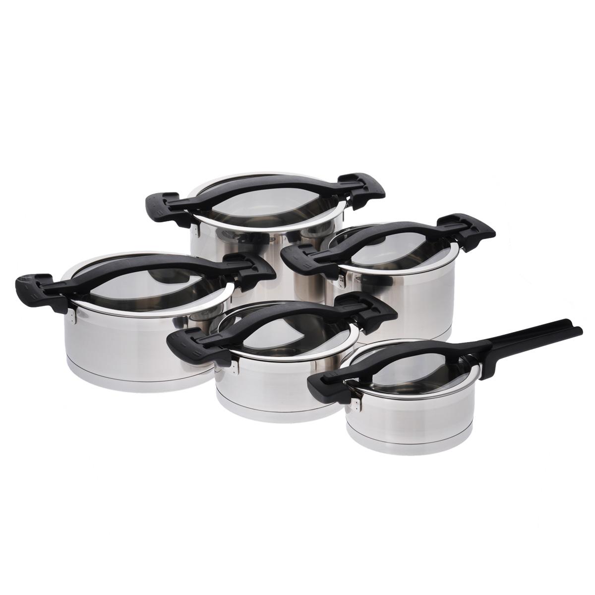 Набор посуды Tescoma Ultima, 10 предметов780610Набор посуды Tescoma Ultima, изготовленный из высококачественной нержавеющей стали 18/10, состоит из четырех кастрюль и ковша. Все предметы набора оснащены стеклянными крышками. Крышки снабжены ободами из нержавеющей стали и удобными нейлоновыми ручками. Уникальные крышки оснащены тремя рабочими функциями: без отверстия для пара - быстрое кипячение и разогрев еды, экономия энергии; небольшое отверстие для пара - для комфортного приготовления пищи; большое отверстие для пара - для приготовления жидких блюд, картофеля, макарон, супов. Посуда снабжена толстым многослойным дном, что значительно снижает вероятность пригорания пищи. Внешняя поверхность изделий оформлена сочетанием зеркальной и матовой полировки. Изделия оснащены удобными ручками из прочного и легкого нейлона. Набор посуды Tescoma Ultima - это идеальный подарок для современных хозяек, которые следят за своим здоровьем и здоровьем своей семьи. Эргономичный дизайн и...