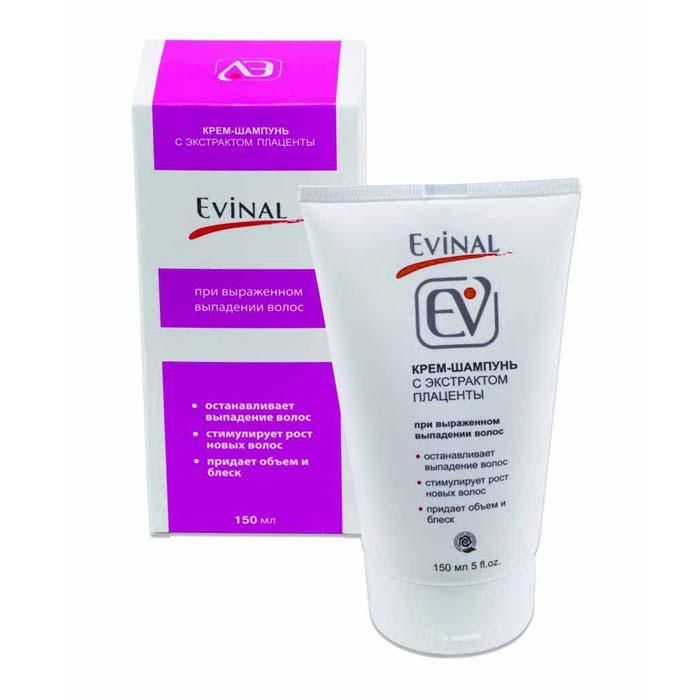Крем-шампунь Evinal с экстрактом плаценты при выраженном выпадении волос, для всех типов волос, 150 мл0462Крем-шампунь Evinal от выпадения волос рекомендован тем, кто хочет иметь здоровые и пышные волосы. Особенно рекомендуется при выраженном выпадении волос, когда количество выпавших волос в сутки превышает 100. Шампунь - уникальный регулятор роста волос. Он снижает андрогенизацию кожи, устраняя тем самым главную причину выпадения волос. Биологически активные вещества плаценты усиливают рост волос, а минерально-витаминный комплекс способствует укреплению волос, придавая им блеск и жизненную силу. Действие: останавливает выпадение волос, стимулирует восстановление и рост новых волос, нейтрализует статическое электричество, укрепляет корни волос, защищает поверхность волос от внешних воздействий, придает объем волосам, делает волосы живыми, блестящими и безупречно ухоженными, облегчает моделирование прически. Рекомендован для ежедневного использования.