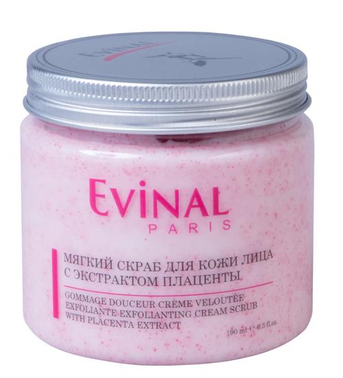 Скраб для кожи лица Evinal с экстрактом плаценты, 190 мл0387Нежный скраб Evinal удаляет загрязнения и отмершие клетки с поверхности кожи, не высушивая ее. Эффективно очищает поры, делая кожу мягкой, гладкой и естественно сияющей. Мягко отшелушивает мертвые клетки кожи, делает ее нежной и шелковистой, улучшает цвет лица. Характеристики: Объем: 190 мл. Производитель: Россия. Артикул: 0387. Товар сертифицирован.