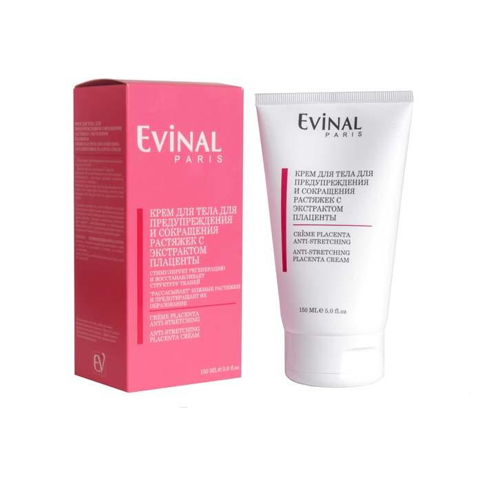 Крем для тела Evinal с экстрактом плаценты, для предупреждения и сокращения растяжек, 150 мл0134Крем для тела Evinal стимулирует регенерацию и восстанавливает структуру тканей. Крем не только способствует рассасыванию кожных растяжек, но и предотвращает их образование. Крем стимулирует клеточное дыхание, выработку коллагена и эластина, что укрепляет и восстанавливает ткани.