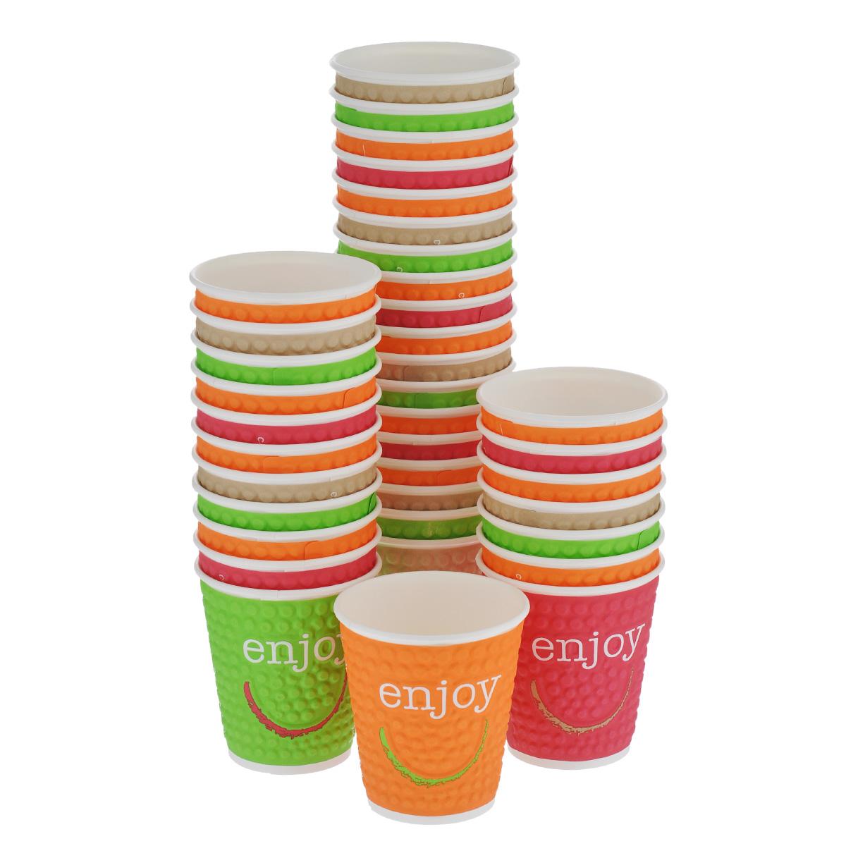 Набор одноразовых стаканов Enjoy, 200 мл, 37 шт414542Набор Enjoy состоит из 37 разноцветных рельефных стаканов, выполненных из высококачественного двухслойного картона и предназначенных для одноразового использования. Стаканы подойдут для холодных и горячих напитков. Применять при температуре не более +88°С в течении 15 минут. Одноразовые стаканы будут незаменимы при поездках на природу, пикниках и других мероприятиях. Они не займут много места, легки и самое главное - после использования их не надо мыть.