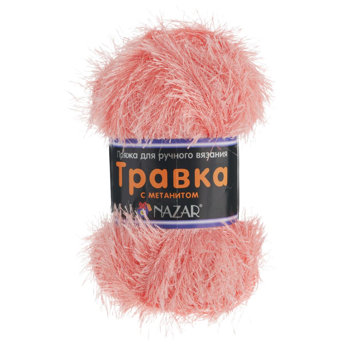 Пряжа для вязания Nazar Травка с метанитом, цвет: персиковый (2671), 115 м, 100 г, 5 шт349021_2671Пряжа для вязания Nazar Травка с метанитом изготовлена из 90% полиэстера, 10% метанита. Это - пряжа с ворсом. Изделия выглядят как меховые, а добавление метанита придает блеск. Полотно выглядит пушистым с обеих сторон. Пряжа используется для отделки изделий, создания игрушек, а также хороша для новогодних костюмов и в качестве мишуры. Подходит для вязания на спицах и крючках 4 мм. Состав: 90% полиэстер, 10% метанит. Комплектация: 5 шт. Толщина нити: 1,5 мм.