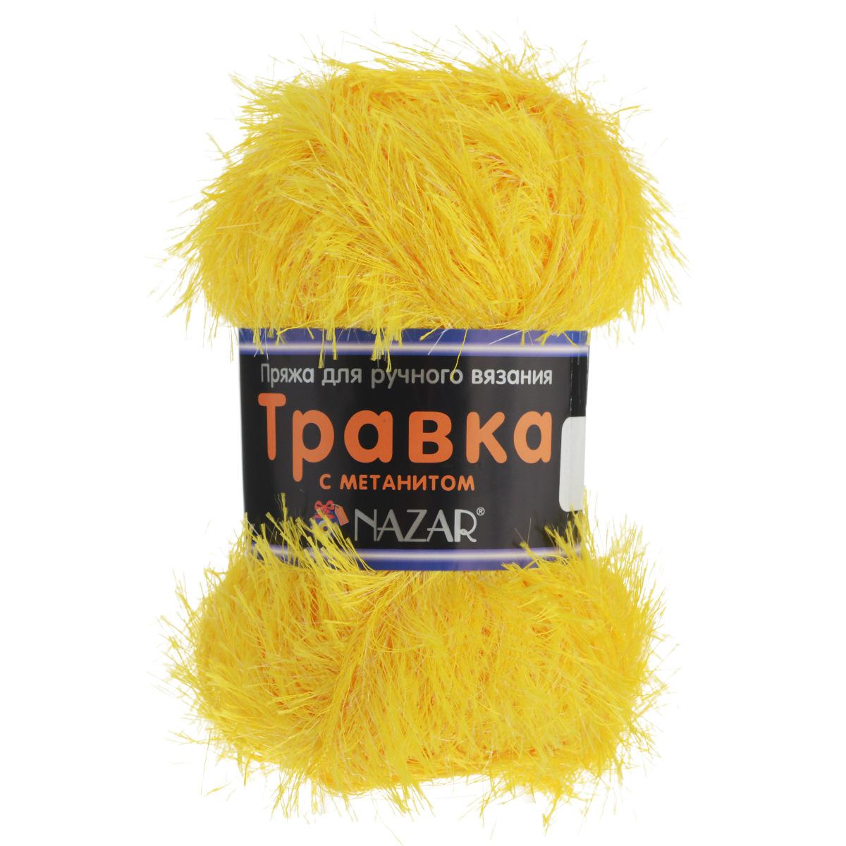 Пряжа для вязания Nazar Травка с метанитом, цвет: желтый (2517), 115 м, 100 г, 5 шт349021_2517Пряжа для вязания Nazar Травка с метанитом изготовлена из 90% полиэстера, 10% метанита. Это - пряжа с ворсом. Изделия выглядят как меховые, а добавление метанита придает блеск. Полотно выглядит пушистым с обеих сторон. Пряжа используется для отделки изделий, создания игрушек, а также хороша для новогодних костюмов и в качестве мишуры. Подходит для вязания на спицах и крючках 4 мм. Состав: 90% полиэстер, 10% метанит. Комплектация: 5 шт. Толщина нити: 1,5 мм.