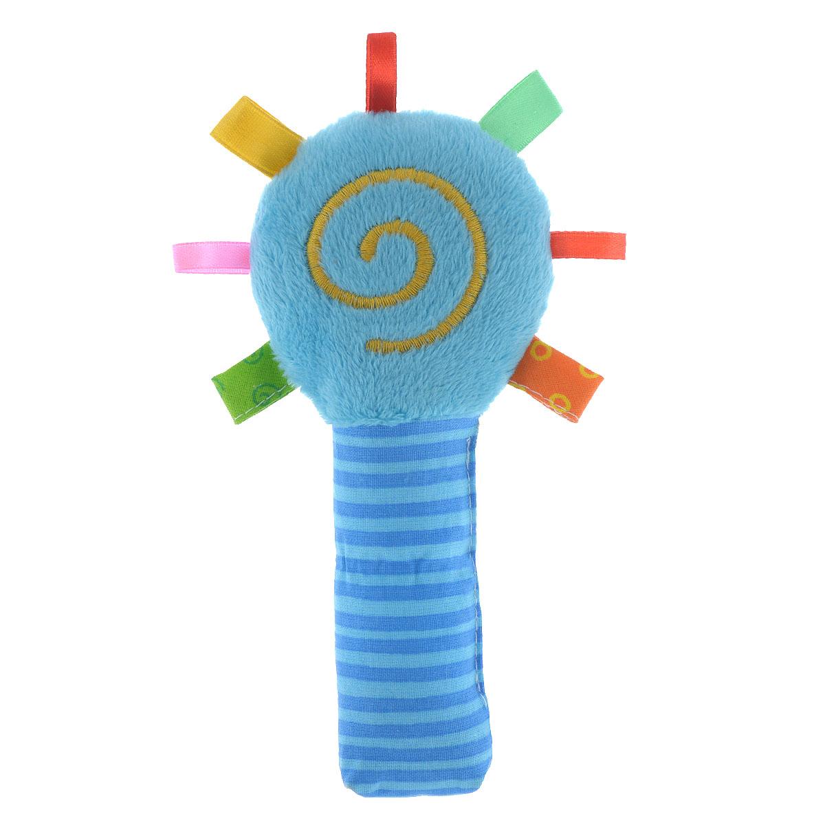 Мягкая погремушка Мякиши Маракас, цвет: голубой279Погремушка Мякиши Маракас выполнена из мягкого текстильного материала разных цветов и фактур в виде маракаса, оформленного вышитой спиралькой. Внутри круглой части, украшенной текстильными петельками, находится погремушка; в ручке спрятан шуршащий элемент. Форма погремушки удобна для маленьких ручек ребенка. Он сможет ее держать, трясти и перекладывать из одной ручки в другую. Яркая погремушка Мякиши Маракас поможет малышу в развитии цветового и звукового восприятия, концентрации внимания, мелкой моторики рук, координации движений и тактильных ощущений. УВАЖАЕМЫЕ КЛИЕНТЫ! Обращаем ваше внимание на возможные изменения в дизайне, связанные с цветовым ассортиментом продукции. Поставка осуществляется в зависимости от наличия на складе.
