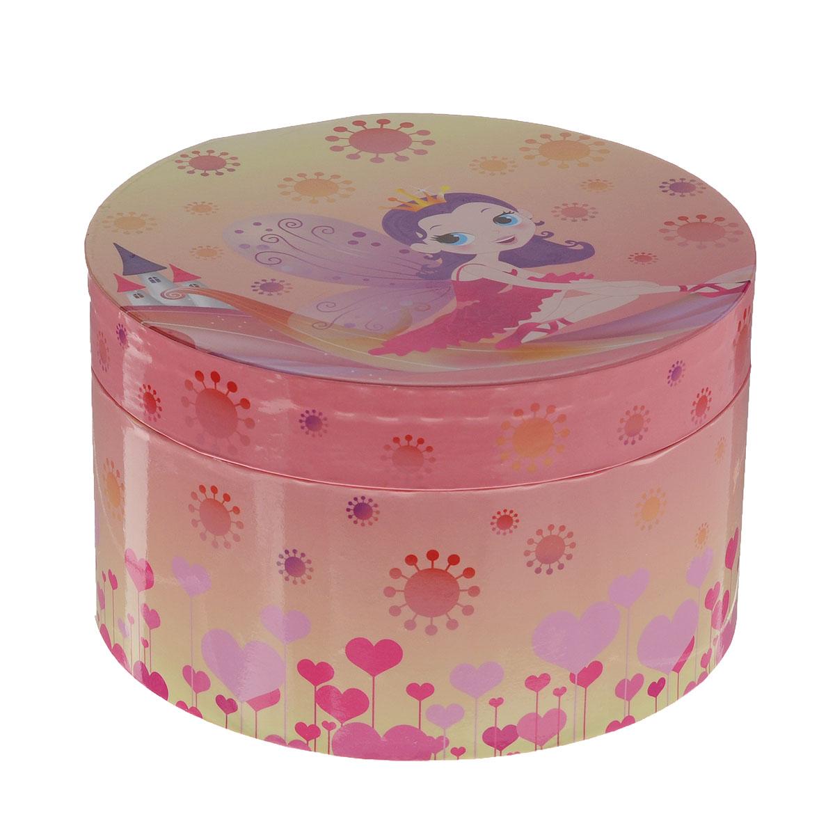 Музыкальная шкатулка Jakos Принцесса, цвет: розовый, желтый614000_4Яркая музыкальная шкатулка Jakos Принцесса приведет в восторг вашу малышку. Шкатулка выполнена из пластика и оформлена ярким изображением сказочной принцессы-феи на фоне волшебного замка. Внутри шкатулки находятся одно отделение для хранения разнообразных украшений, небольшое зеркальце. Внутри напротив зеркальца расположена фигурка принцессы, которая при открытии крышки начинает кружиться, и звучит приятная мелодия. Внутренняя поверхность шкатулки отделана мягкой светло-розовой тканью. Шкатулка оснащена металлическим заводным механизмом. Приятная мелодия музыкальной шкатулки успокаивает и дарит романтическое настроение. Шкатулка оформлена в нежных пастельных тонах и прекрасно впишется в любой интерьер.