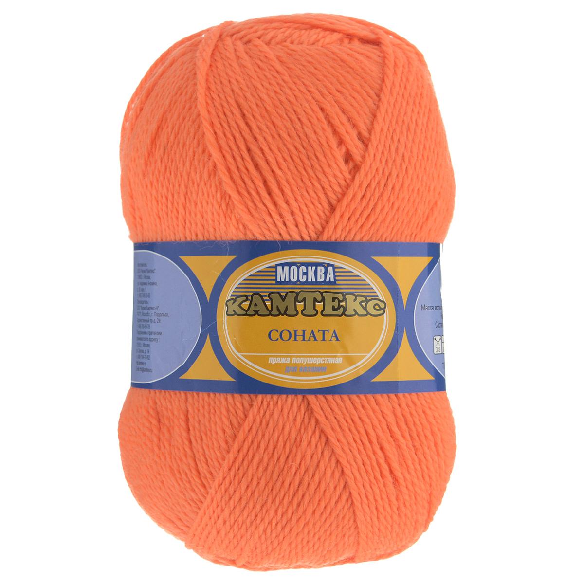 Пряжа для вязания Камтекс Соната, цвет: оранжевый (035), 250 м, 100 г, 10 шт136030_035Пряжа для вязания Камтекс Соната изготовлена из 50% шерсти, 50% акрила. Она вяжется легко и свободно. Ворсистая ниточка ровно складывается в полотно, которое имеет минимальный процент усадки. Из пряжи Соната прекрасно вяжутся теплые туники, жилеты, свитера и даже платья. Рекомендуемые для вязания спицы и крючки 3-5 мм. Состав: 50% шерсть, 50% акрил. Комплектация: 10 шт. Толщина нити: 2 мм.