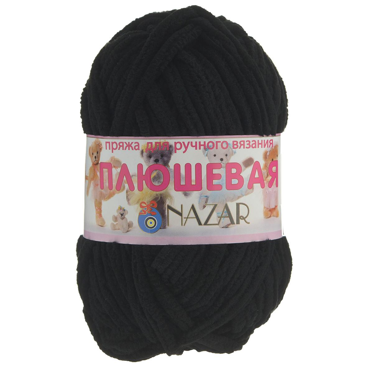 Пряжа для вязания Nazar Плюшевая, цвет: черный (7000), 38 м, 50 г, 10 шт349018_7000Пряжа для вязания Nazar Плюшевая изготовлена из 100% микрополиэстера. Ниточка очень мягкая, нежная, бархатистая, напоминает плюш. После стирки не линяет. Пряжа идеально подойдет для вязания детской верхней одежды, игрушек и аксессуаров для дома (подушек, пледов, ковриков). Вязание получается рыхлым и состоящим из бугорков, что имитирует кудрявый мех. Рекомендуемый размер крючка и спиц - 6 мм. Состав: 100% микрополиэстер. Комплектация: 10 шт. Ширина нити: 5 мм.