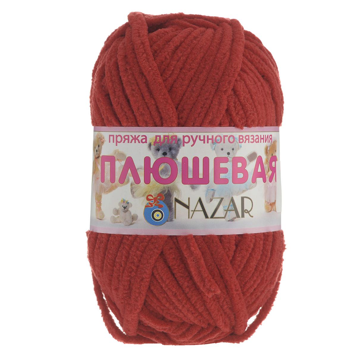 Пряжа для вязания Nazar Плюшевая, цвет: красный (7001), 38 м, 50 г, 10 шт349018_7001Пряжа для вязания Nazar Плюшевая изготовлена из 100% микрополиэстера. Ниточка очень мягкая, нежная, бархатистая, напоминает плюш. После стирки не линяет. Пряжа идеально подойдет для вязания детской верхней одежды, игрушек и аксессуаров для дома (подушек, пледов, ковриков). Вязание получается рыхлым и состоящим из бугорков, что имитирует кудрявый мех. Рекомендуемый размер крючка и спиц - 6 мм. Состав: 100% микрополиэстер. Комплектация: 10 шт. Ширина нити: 5 мм.