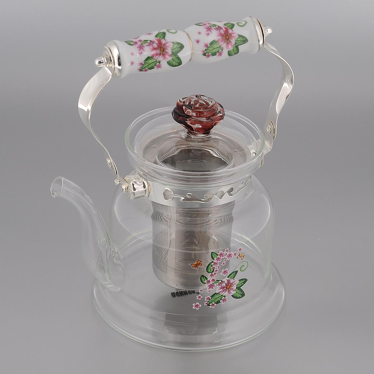 Чайник заварочный Bekker, цвет: белый, розовый, 900 мл. BK-7618BK-7618Заварочный чайник Bekker выполнен из жаростойкого стекла, которое хорошо удерживает тепло. Ручка и съемное ситечко внутри чайника выполнены из высококачественной нержавеющей стали. Высокая ручка чайника, снабженная фарфоровой насадкой, позволяет с легкостью удерживать его на весу. Съемное ситечко для заварки предотвращает попадание чаинок и листочков в настой. Заварочный чайник украшен изящным рисунком, что придает ему элегантность. Заварочный чайник из стекла удобно использовать для повседневного заваривания чая практически любого сорта. Но цветочные, фруктовые, красные и желтые сорта чая лучше других раскрывают свой вкус и аромат при заваривании именно в стеклянных чайниках и сохраняют полезные ферменты и витамины, содержащиеся в чайных листах. Подходит для использования на газовой плите и чистки в посудомоечной машине. Диаметр чайника (по верхнему краю): 9 см. Высота чайника (без учета крышки): 13,5 см.