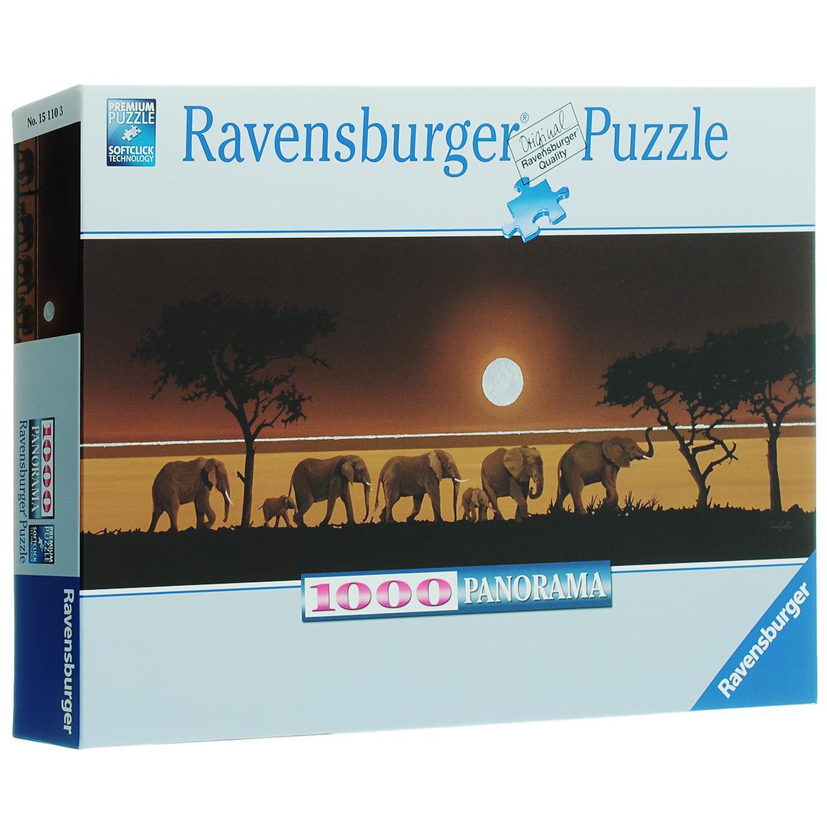 Ravensburger Семь слонов. Пазл-панорама, 1000 элементов15110Пазл Ravensburger Семь слонов привлечет внимание вашего малыша и познакомит его с окружающим миром. Собрав этот пазл, включающий в себя 1000 элементов, вы получите красочную панорамную картину с изображением африканских слонов. Каждая деталь имеет свою форму и подходит только на свое место. Нет двух одинаковых деталей! Пазл изготовлен из картона высочайшего качества. Softclick технология гарантирует 100% соединение деталей. Все изображения аккуратно отсканированы и напечатаны на ламинированной бумаге. Пазл - великолепная игра для семейного досуга. Сегодня собирание пазлов стало особенно популярным, главным образом, благодаря своей многообразной тематике, способной удовлетворить самый взыскательный вкус. А для детей это не только интересно, но и полезно. Собирание пазла развивает мелкую моторику у ребенка, тренирует наблюдательность, логическое мышление, знакомит с окружающим миром, с цветом и разнообразными формами.