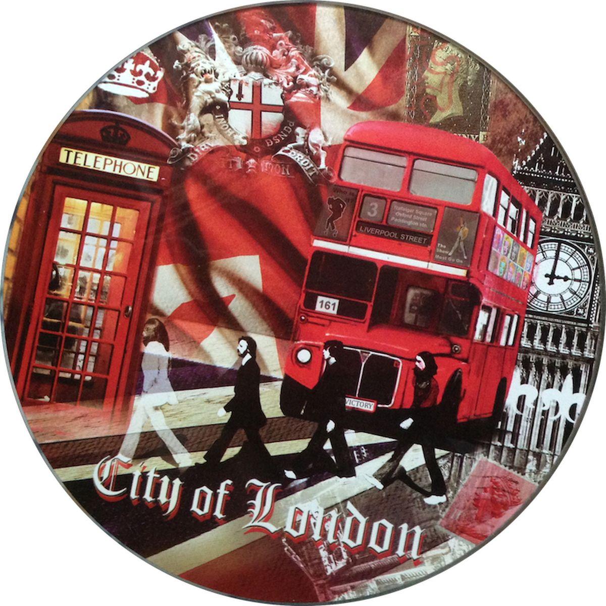 Доска разделочная GiftnHome Лондонские фантазии, стеклянная, диаметр 19 смRCB-LondonРазделочная доска GiftnHome Лондонские фантазии выполнена из жароустойчивого стекла. Изделие, украшенное красочным изображением достопримечательностей Лондона, идеально впишется в интерьер современной кухни. Специальное покрытие вкладыша обеспечивает стойкость к влаге и высоким температурам. Изделие легко чистить от пятен и жира. Также доску можно применять как подставку под горячее. Разделочная доска GiftnHome Лондонские фантазии украсит ваш стол и сбережет его от воздействия высоких температур ваших кулинарных шедевров. Можно мыть в посудомоечной машине. Диаметр доски: 19 см. Толщина доски: 0,4 см.