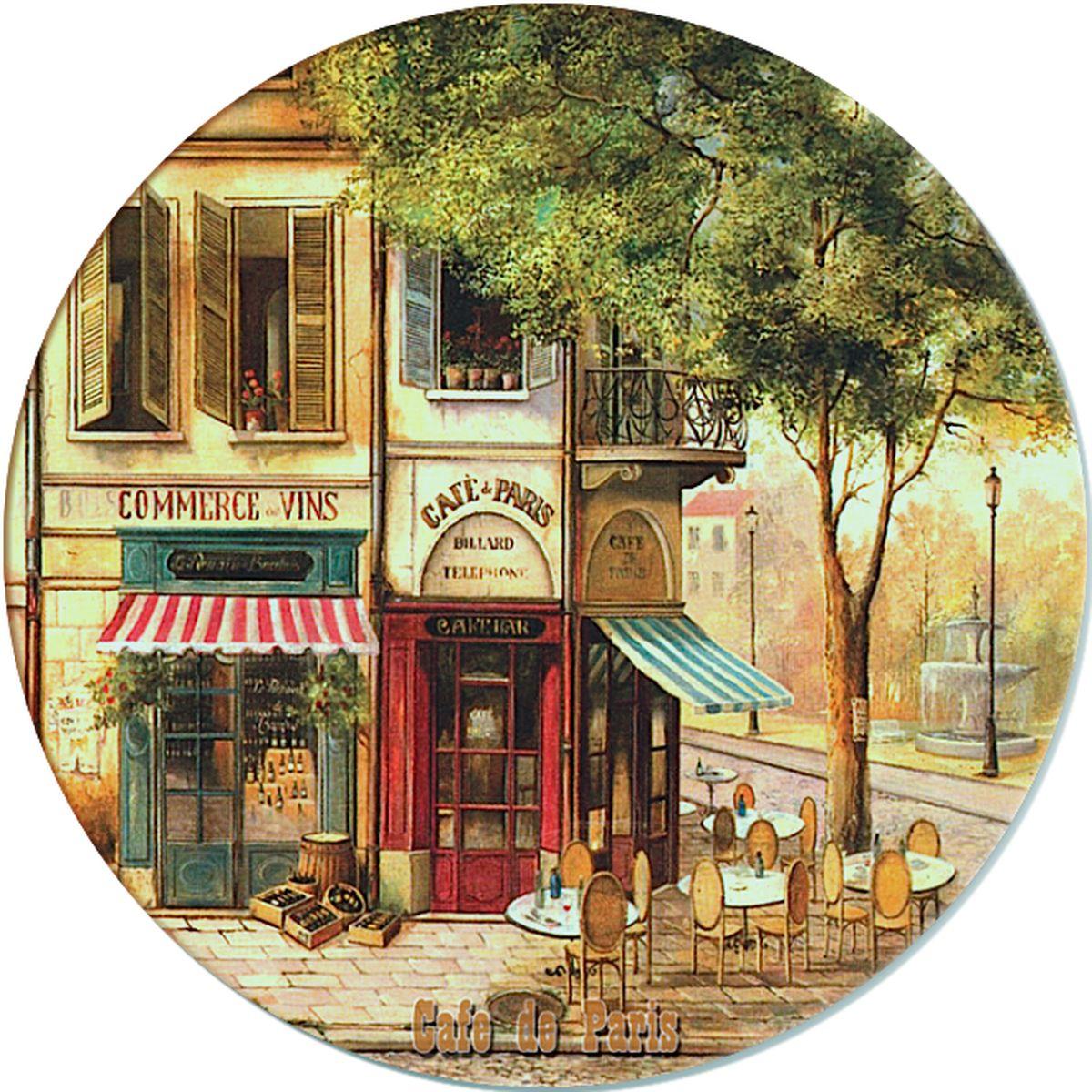 Доска разделочная GiftnHome Парижское кафе, стеклянная, диаметр 19 смRCB-01-CafeРазделочная доска GiftnHome Парижское кафе выполнена из жароустойчивого стекла. Изделие, украшенное красочным изображением, идеально впишется в интерьер современной кухни. Специальное покрытие вкладыша обеспечивает стойкость к влаге и высоким температурам. Изделие легко чистить от пятен и жира. Также доску можно применять как подставку под горячее. Разделочная доска GiftnHome Парижское кафе украсит ваш стол и сбережет его от воздействия высоких температур ваших кулинарных шедевров. Можно мыть в посудомоечной машине. Диаметр доски: 19 см. Толщина доски: 0,4 см.