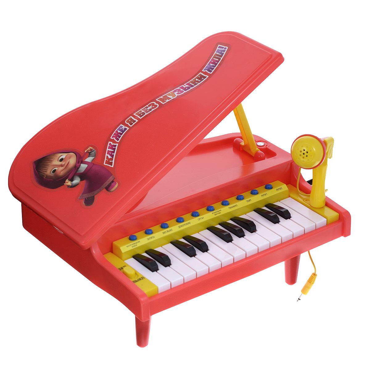 Играем вместе Электропианино Маша и Медведь цвет красныйB290220-R2Музыкальная игрушка Играем вместе Маша и Медведь: Электропианино непременно понравится вашему маленькому музыканту и не позволит ему скучать. Она выполнена из прочного пластика и оснащена красочными световыми и звуковыми эффектами. Игрушка оснащена удобной ручкой для переноски. В комплект также входит микрофон со стойкой, которые без труда помещаются в специальном контейнере под крышкой пианино. Игрушка оснащена настоящими клавишами, каждый из которых играет свою ноту, благодаря чему малыш сможет сочинить и сыграть свою мелодию, а с помощью функции записи и воспроизведения он сможет запечатлеть свои шедевры. Над клавиатурой расположены кнопки орган, музыкальная шкатулка и пианино - нажмите их, и клавиши изменят свое звучание! Пианино имеет 2 встроенных ритма и возможность регулировать темп воспроизведения. Также игрушка может порадовать малыша 3 песенками из мультфильма Маша и Медведь. Играя с такой игрушкой, ребенок сможет развить цветовое восприятие,...