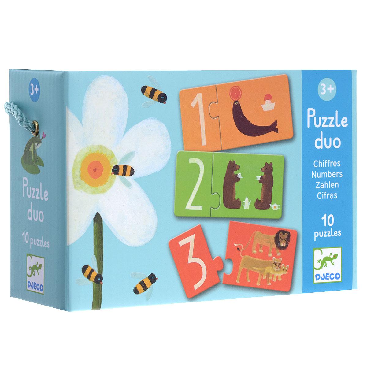 Djeco Обучающая игра Цифры08151Обучающая игра Djeco Пары - игра-пазл, которая поможет малышу освоить навыки счета. Ребенку необходимо подобрать к небольшой карточке с цифрой карточку побольше с изображением животных, количество которых соответствует цифре на его карточке. После этого ребенок соединяет их вместе. В комплект игры входят 10 пар красочных карточек, выполненных из плотного картона. Игра развивает моторику пальчиков рук, воображение. Малыш познакомится с чудесным миром природы и в игровой форме выучит цифры от 1 до 10.
