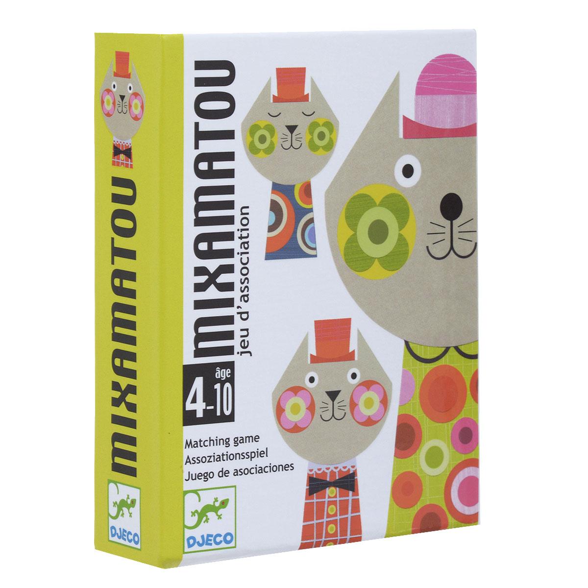 Djeco Карточная игра Миксамато05130Настольная карточная Djeco Миксамато - веселая игра на внимательность и сообразительность для самых маленьких. Комплект игры включает 36 красочных карт, оформленных рисунками в виде забавных кошек, и правила игры на русском языке. Цель игры – составить различные варианты кошек таким образом, чтобы первым избавиться от всех карточек. Такая же шапочка, такие же щечки или такая же кофточка: три способа соединять котиков и сбрасывать карты, чтобы выиграть. Тот, у кого не осталось ни одной карточки, и становится победителем. Все изображения созданы современными французскими художниками. Рекомендуемый возраст: от 4 до 10 лет. Продолжительность игры: 10 минут.