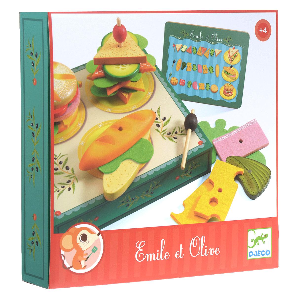 Djeco Игровой набор Сэндвичи от Эмиля и Олив06620Игровой набор Djeco Сэндвичи от Эмиля и Олив - замечательный набор для сюжетно-ролевой игры. В нем ваш ребенок найдет все самое необходимое для того, чтобы приготовить и накормить свои любимые игрушки вкусными бутербродами. Рецепт прост - два кусочка булки, сыр, салат и то, что нравится каждому в особенности. Набор включает коробочку с изображением поваров за рабочим столом на одной стороне и рабочей поверхностью для приготовления бутербродов на другой, 3 двойных основы для бутербродов в виде булочек, 3 двусторонних деревянных элемента и текстильные элементы в виде различных начинок, 3 шпажки для канапе и карточку с примерами сочетания основ с начинками. Элементы набора выполнены из высококачественного дерева. Ваш ребенок будет в восторге от такого подарка!