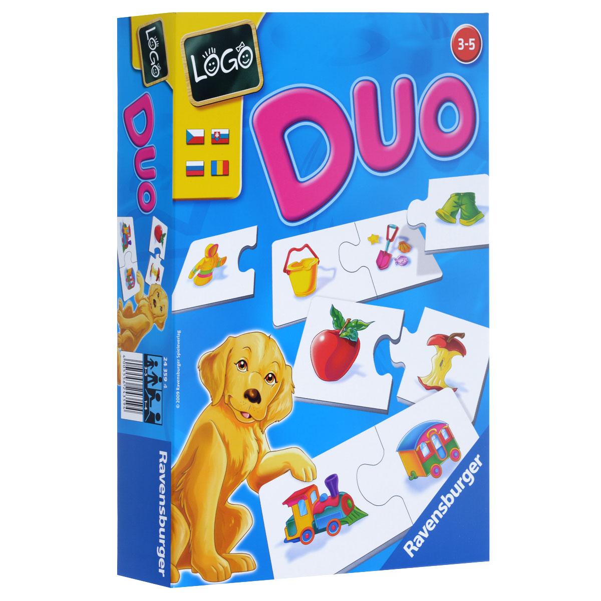Ravensburger Настольная игра Лого Дуо24359Настольная игра Ravensburger Лого Дуо позволит вашему ребенку весело и с пользой провести время. Подходит для одного ребенка или для групповой игры. Цель игры - малыши должны найти соответствие между картинками связь. С помощью выступов на карточках, то есть носиков, дети сами смогут понять, подходят ли те друг другу. Это делает поиск подходящих пар карточек увлекательным в том случае, если ребенок играет один. Игра имеет четыре варианта: Найди пару, У кого подходящая карточка?, Обмен картинками, Поиск картинок с закрытыми карточками. В комплект игры входят 12 картонных пар карточек с картинками в виде предметов окружающего ребенка мира и правила игры на русском языке. Игра учит логическому мышлению, внимательности, умению общаться. Рекомендуемый возраст: от 3 до 5 лет. Продолжительность игры: 10-15 минут.
