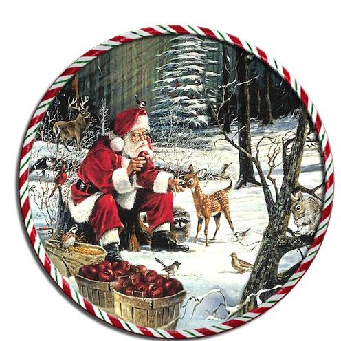 Подставка под горячее GiftnHome Санта с животными, диаметр 17 смRCST -01-Santa with AnimaКруглая подставка под горячее GiftnHome Санта с животными выполнена из пробки. Изделие, украшенное красочным изображением, идеально впишется в интерьер современной кухни. Ламинированное покрытие изделий обеспечивает стойкость к высоким температурам. Изделия легко очистить от пятен влажной губкой. Каждая хозяйка знает, что подставка под горячее - это незаменимый и очень полезный аксессуар на каждой кухне. Ваш стол будет не только украшен оригинальной подставкой с красивым рисунком, но и сбережен от воздействия высоких температур ваших кулинарных шедевров. Не рекомендуется полностью погружать изделие в воду. Предельная температура 90°С. Диаметр подставки: 17 см. Толщина подставки: 0,5 см.