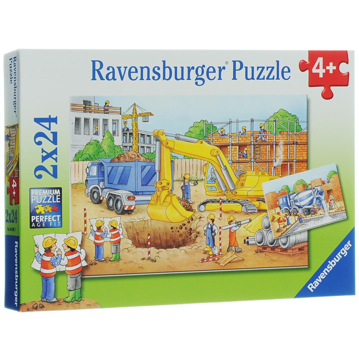 Ravensburger Стройплощадка. Пазл, 2 х 24 элемента08899Пазл Ravensburger Стройплощадка, несомненно, понравится вашему ребенку. Собрав пазлы, каждый из которых включает по 24 элемента, вы получите 2 замечательные картинки с изображением рабочих на строительной площадке. Пазл изготовлен из картона высочайшего качества. Каждая деталь имеет свою форму и подходит только на свое место. Все изображения аккуратно отсканированы и напечатаны на ламинированной бумаге. В комплект также входят 2 мини-плаката. Пазлы - замечательная развивающая игра для детей. Собирание пазла развивает у ребенка мелкую моторику рук, тренирует наблюдательность, логическое мышление, знакомит с окружающим миром, с цветом и разнообразными формами, учит усидчивости и терпению, аккуратности и вниманию. Детские пазлы Ravensburger идеально подходят для малышей и позволяют из развить важные навыки, которые непременно пригодятся им во взрослой жизни.