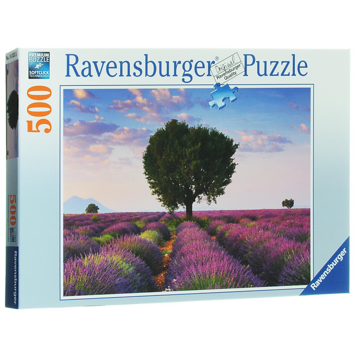 Ravensburger Лавандовое поле. Пазл, 500 элементов14353Пазл Ravensburger Лавандовое поле понравится всем членам вашей семьи. Собрав этот пазл, включающий в себя 500 элементов, вы получите замечательный постер с изображением поля в цветах лаванды. Пазл изготовлен из картона высочайшего качества. Каждая деталь имеет свою форму и подходит только на свое место. Softclick технология гарантирует 100% соединение деталей. Изображение аккуратно отсканировано и напечатано на ламинированной бумаге. Пазл - великолепная игра для семейного досуга. Сегодня собирание пазлов стало особенно популярным, главным образом, благодаря своей многообразной тематике, способной удовлетворить самый взыскательный вкус. А для детей это не только интересно, но и полезно. Собирание пазла развивает мелкую моторику у ребенка, тренирует наблюдательность, логическое мышление, знакомит с окружающим миром, с цветом и разнообразными формами.