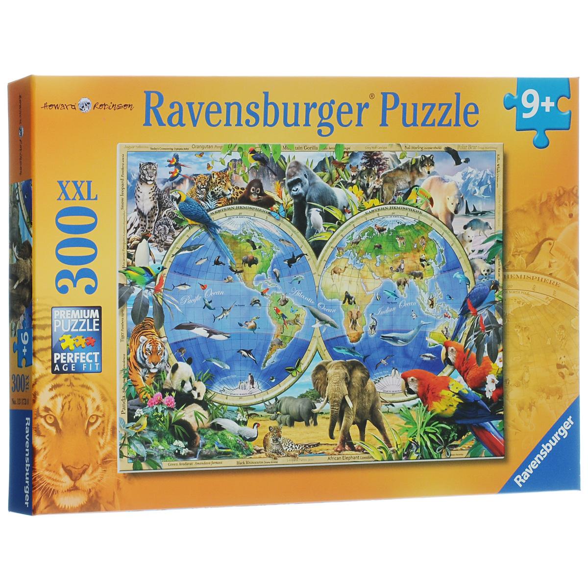 Ravensburger Мир дикой природы. Пазл XXL, 300 элементов13173Пазл Ravensburger Мир дикой природы понравится и вам, и вашему ребенку. Собрав этот пазл, включающий в себя 300 крупных элементов, вы получите замечательную картинку с изображением карты обитания животных мира. Пазл изготовлен из картона высочайшего качества. Каждая деталь имеет свою форму и подходит только на свое место. Пазлы - замечательная развивающая игра для детей. Собирание пазла развивает у ребенка мелкую моторику рук, тренирует наблюдательность, логическое мышление, знакомит с окружающим миром, с цветом и разнообразными формами, учит усидчивости и терпению, аккуратности и вниманию.