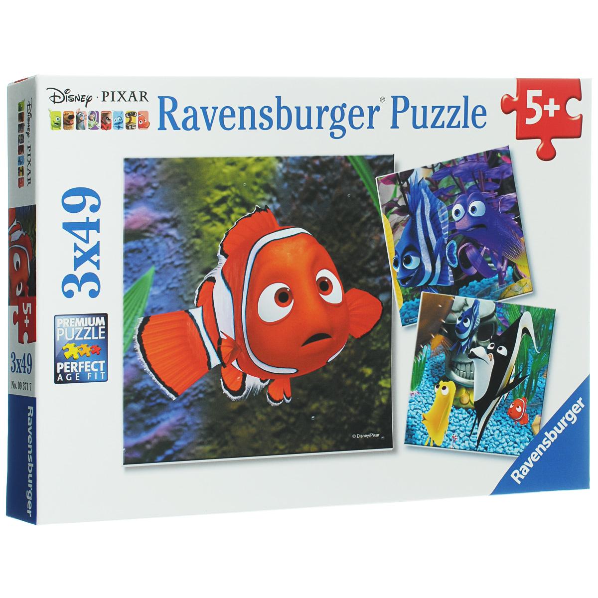 Ravensburger Немо в аквариуме. Пазл, 3 х 49 элементов09371Пазл Ravensburger Немо в аквариуме, несомненно, понравится вашему ребенку. Собрав пазлы, каждый из которых включает по 49 элементов, вы получите три замечательные картинки с изображением героев мультфильма В поисках Немо. Пазл изготовлен из картона высочайшего качества. Каждая деталь имеет свою форму и подходит только на свое место. Все изображения аккуратно отсканированы и напечатаны на ламинированной бумаге. Пазлы - замечательная развивающая игра для детей. Собирание пазла развивает у ребенка мелкую моторику рук, тренирует наблюдательность, логическое мышление, знакомит с окружающим миром, с цветом и разнообразными формами, учит усидчивости и терпению, аккуратности и вниманию.
