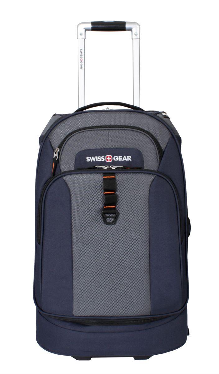 Сумка на колесах SwissGear, цвет: синий, серый, 38 л6166344111Стильная сумка на колесах Swissgear подойдет для современных и мобильных людей. Она выполнена из полиэстера и имеет одно вместительное основное отделение на застежке-молнии, внутри фиксирующие ремни, а также сетчатый карман. На лицевой стороне расположено 2 кармана на застежке-молнии. Особенности: Алюминиевая ручка с фиксатором позволяет легко и удобно перемещать багаж. Прочные ручки, расположенные на боковой и верхних частях изделия, позволяют без усилий поднимать и перевозить чемодан. Встроенные легко вращающиеся колеса обеспечивают максимальную стабильность и маневренность багажа. Внешний карман на молнии для хранения мелких предметов. По всем вопросам гарантийного и постгарантийного обслуживания рюкзаков, чемоданов, спортивных и кожаных сумок, а также портмоне марок Wenger и SwissGear вы можете обратиться в сервис-центр, расположенный по адресу: г. Москва, Саввинская набережная, д.3. Тел: (495) 788-39-96, (499) 248-56-56, ежедневно с...
