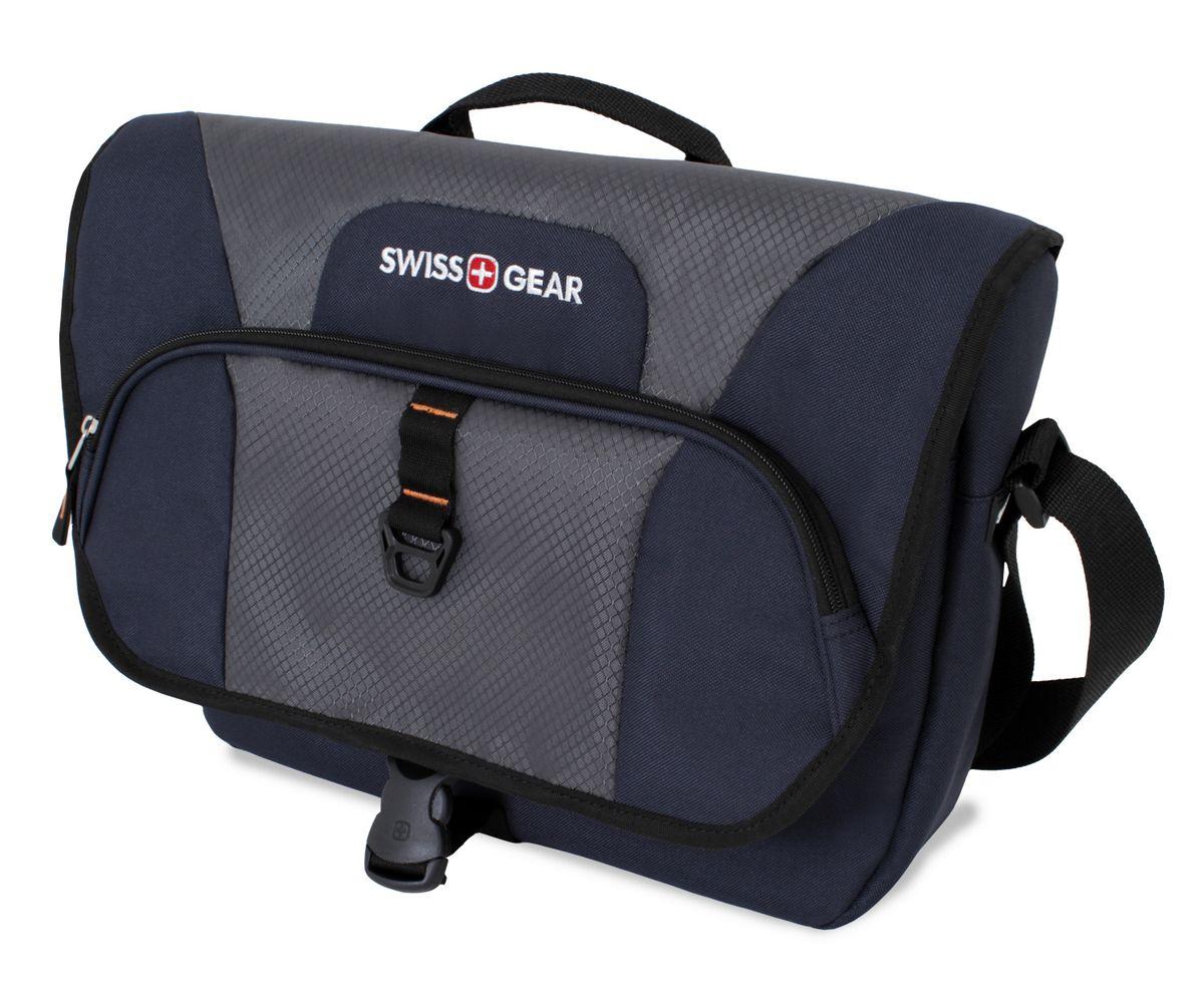 Сумка наплечная SwissGear, цвет: синий, серый, 13 л6166344505Наплечная сумка SwissGear выполнена из прочного полиэстера. Она оснащена 1 основным отделением на застежке-молнии, 1 карманом на крышке и 1 карманом под крышкой. Особенности сумки: Отделение для ноутбука с мягкими стенками. Подходит для большинства ноутбуков с диагональю экрана 15 дюймов; Карман-органайзер для мелких предметов. Включает в себя съемную ключницу, раздельные кармашки для пишущих принадлежностей, мобильного телефона, удостоверения личности и флешки; Регулируемый ремень с застежкой-карабином для надежного хранения содержимого сумки; Регулируемый мягкий плечевой ремень; Удобное расположение кармана обеспечивает легкий доступ к мелким предметам. По всем вопросам гарантийного и постгарантийного обслуживания рюкзаков, чемоданов, спортивных и кожаных сумок, а также портмоне марок Wenger и SwissGear вы можете обратиться в сервис-центр, расположенный по адресу: г. Москва, Саввинская набережная, д.3. Тел: (495) 788-39-96, (499)...