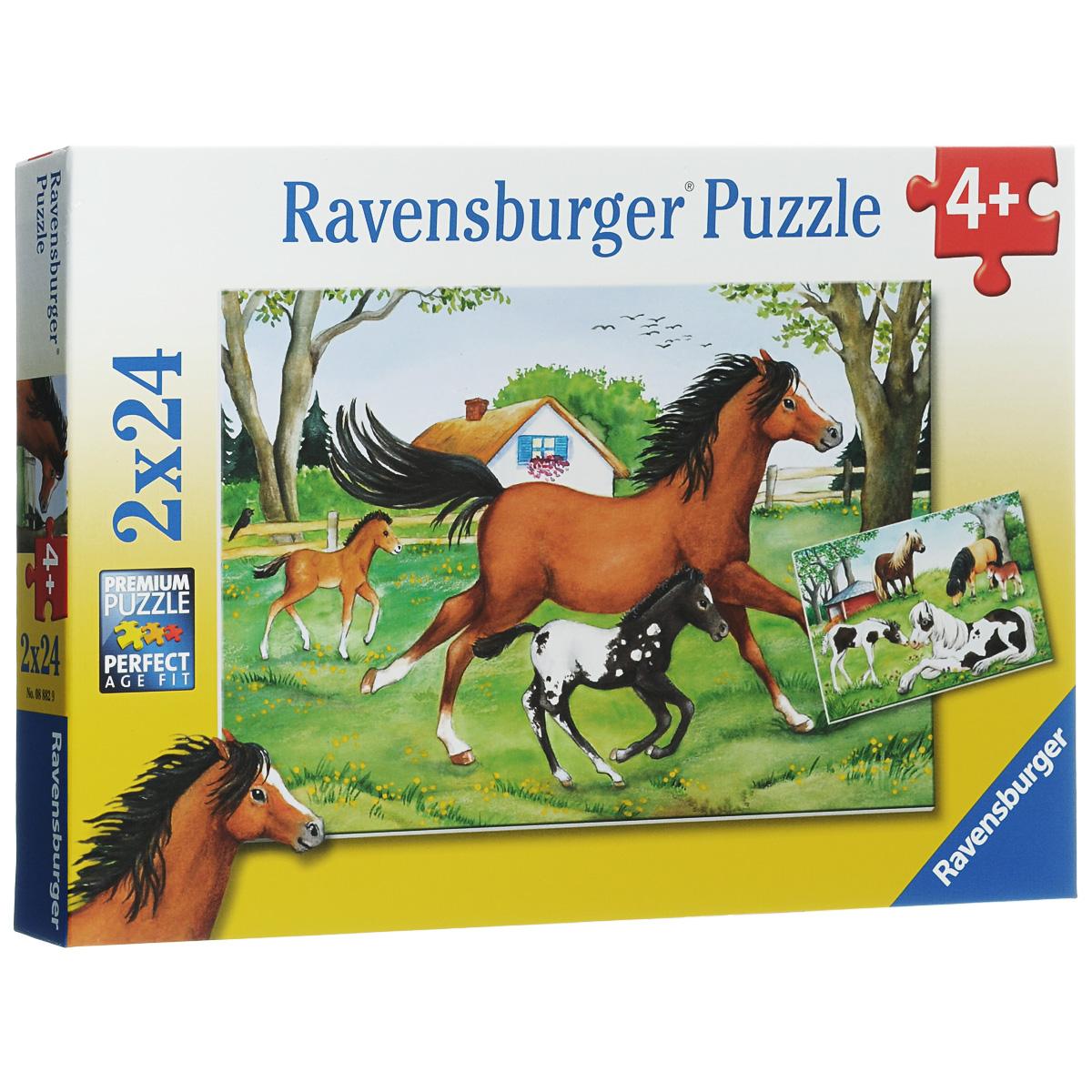 Ravensburger Мир лошадей. Пазл, 2 х 24 элемента08882Пазл Ravensburger Мир лошадей, несомненно, понравится вашему ребенку. Собрав пазлы, каждый из которых включает по 24 элемента, вы получите две красочные картинки с изображением лошадей. Пазл изготовлен из картона высочайшего качества. Каждая деталь имеет свою форму и подходит только на свое место. Все изображения аккуратно отсканированы и напечатаны на ламинированной бумаге. Пазлы - замечательная развивающая игра для детей. Собирание пазла развивает у ребенка мелкую моторику рук, тренирует наблюдательность, логическое мышление, знакомит с окружающим миром, с цветом и разнообразными формами, учит усидчивости и терпению, аккуратности и вниманию.