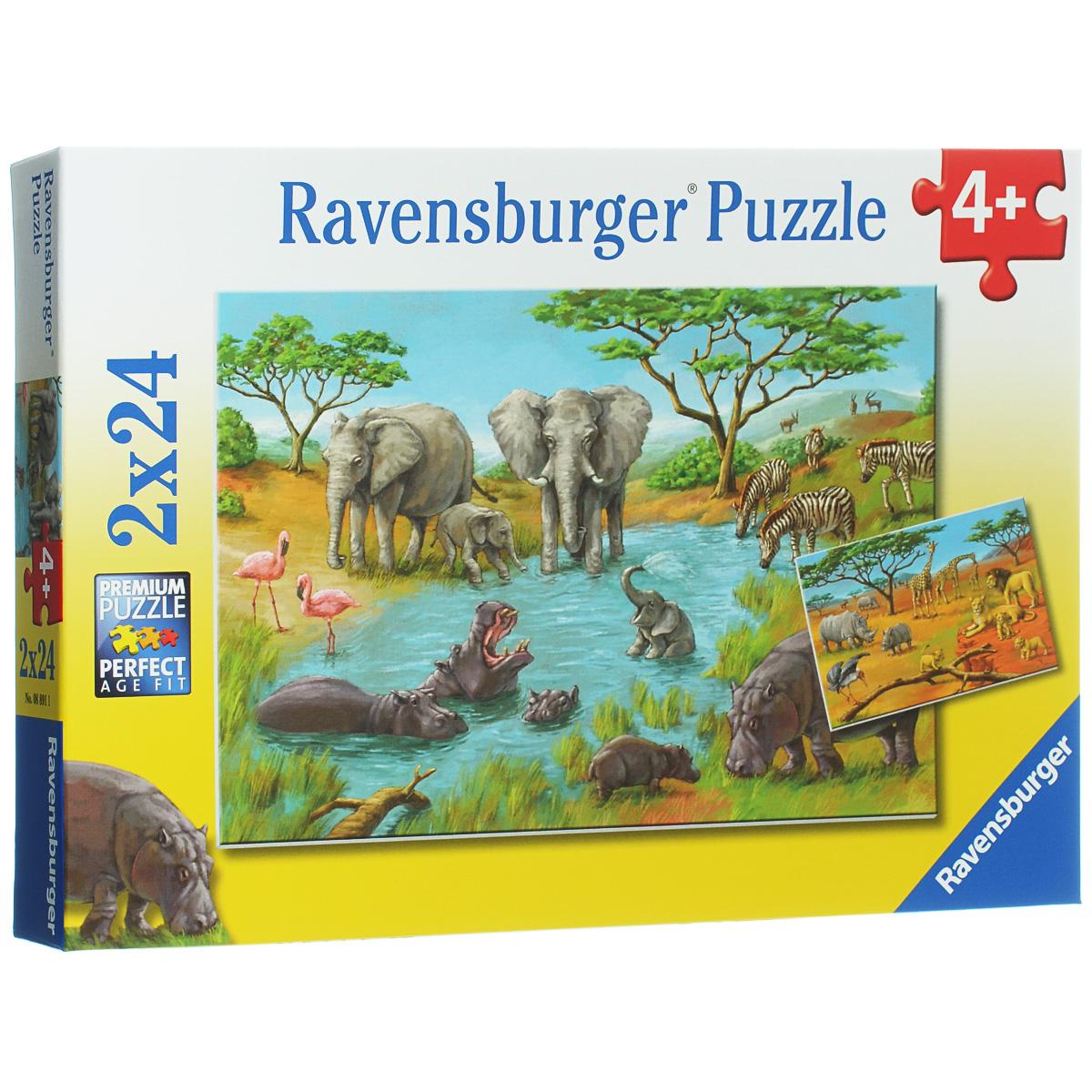 Ravensburger Дикая природа. Пазл, 2 х 24 элемента08891Пазл Ravensburger Дикая природа, несомненно, понравится вашему ребенку. Собрав пазлы, каждый из которых включает по 24 элемента, вы получите две красочные картинки с изображением африканских животных. Пазл изготовлен из картона высочайшего качества. Каждая деталь имеет свою форму и подходит только на свое место. Все изображения аккуратно отсканированы и напечатаны на ламинированной бумаге. Пазлы - замечательная развивающая игра для детей. Собирание пазла развивает у ребенка мелкую моторику рук, тренирует наблюдательность, логическое мышление, знакомит с окружающим миром, с цветом и разнообразными формами, учит усидчивости и терпению, аккуратности и вниманию.