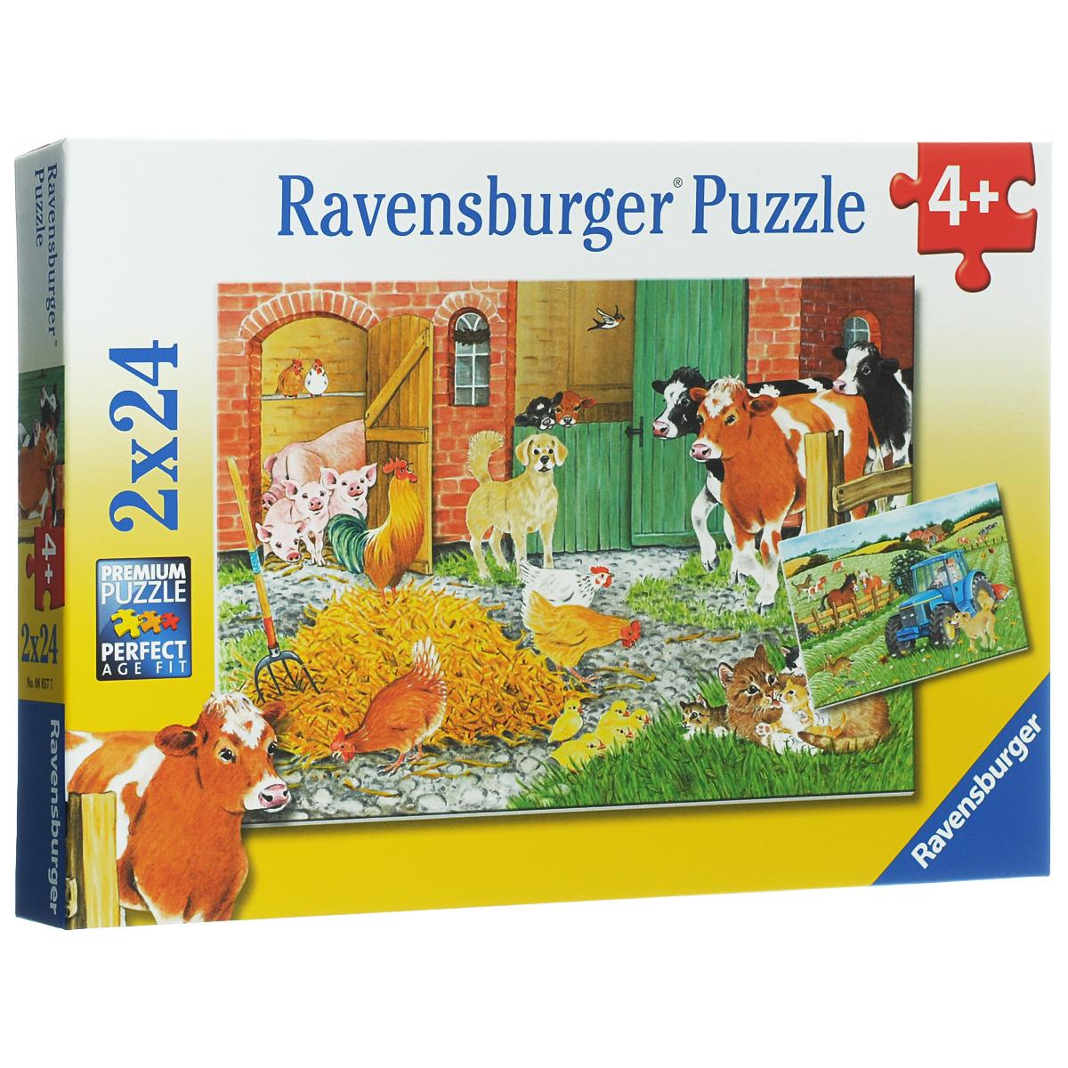Ravensburger На ферме. Пазл 2х24 элемента08857Пазлы Ravensburger На ферме привлекут внимание вашего малыша и познакомят его с чудесным миром животных. Комплект включает 48 элементов, с помощью которых ребенок сможет собрать два пазла с изображениями животных фермы. Благодаря прочному материалу детали пазлов легко крепятся между собой, а крупный размер деталей будет удобен для маленьких ручек малыша. Игра с таким пазлом поможет ребенку в развитии логического мышления, воображения, памяти и мелкой моторики рук.