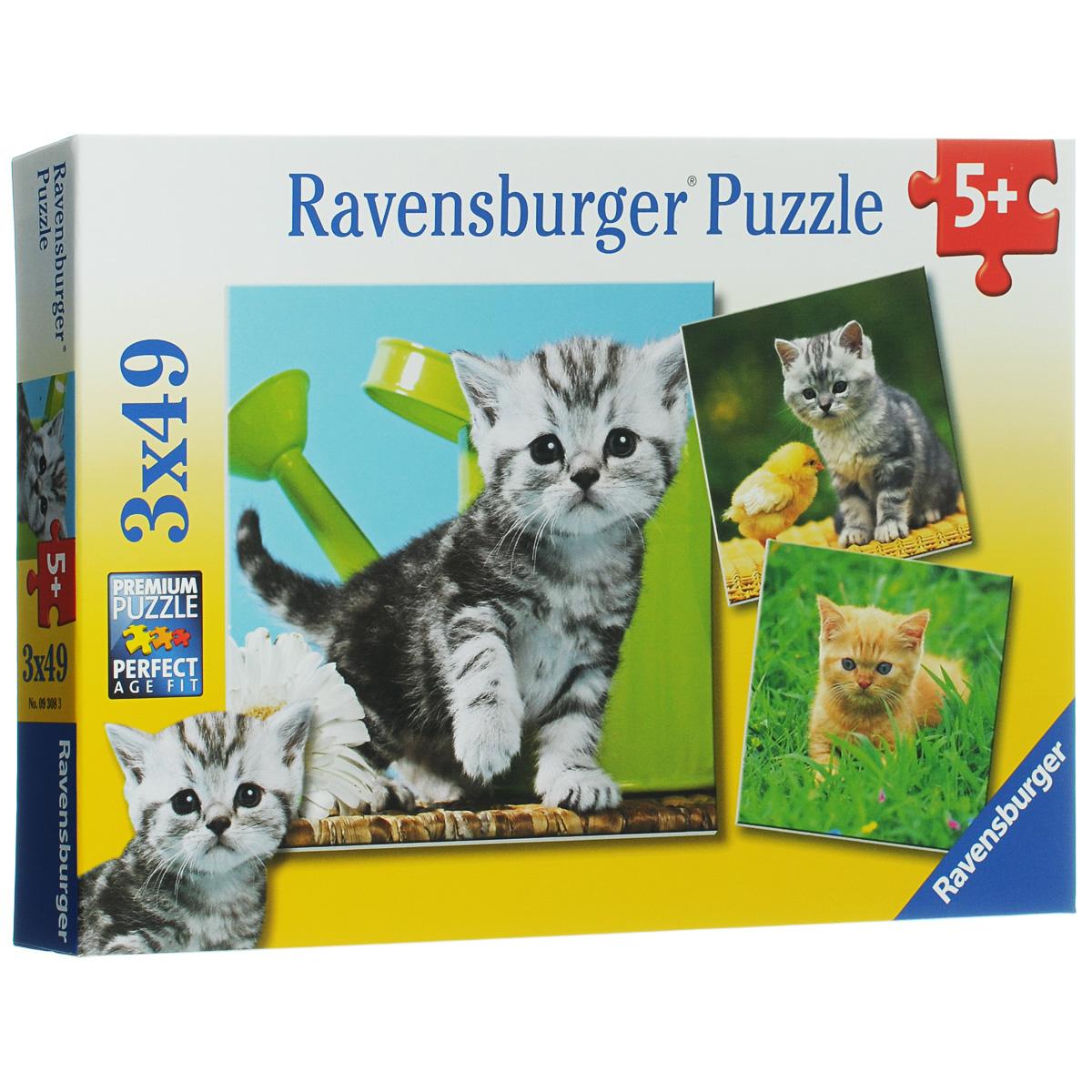 Ravensburger Отважный котенок. Пазл, 3 х 49 элементов09308Пазл Ravensburger Отважный котенок, несомненно, понравится вашему ребенку. Собрав пазлы, каждый из которых включает по 49 элементов, вы получите три замечательные картинки с изображением забавного котенка. Каждая деталь имеет свою форму и подходит только на свое место. Пазл изготовлен из картона высочайшего качества. Все изображения аккуратно отсканированы и напечатаны на ламинированной бумаге. Пазлы - замечательная развивающая игра для детей. Собирание пазла развивает у ребенка мелкую моторику рук, тренирует наблюдательность, логическое мышление, знакомит с окружающим миром, с цветом и разнообразными формами, учит усидчивости и терпению, аккуратности и вниманию.