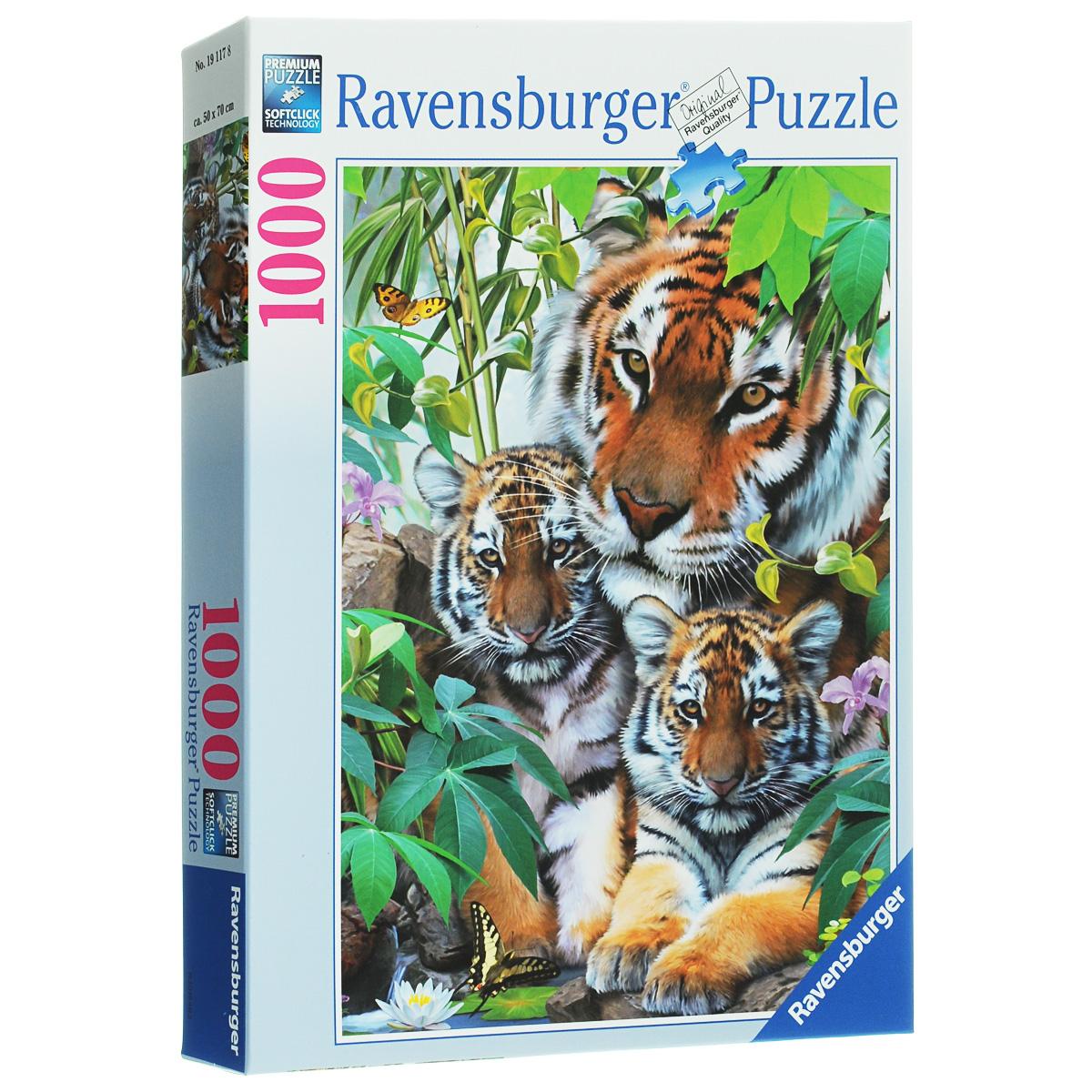 Ravensburger Семья тигров. Пазл, 1000 элементов19117Пазл Ravensburger Семья тигров понравится и вам, и вашему ребенку. Собрав этот пазл, включающий в себя 1000 элементов, вы получите замечательную картину с изображением тигров. Каждая деталь имеет свою форму и подходит только на свое место. Нет двух одинаковых деталей! Пазл изготовлен из картона высочайшего качества. Softclick технология гарантирует 100% соединение деталей. Все изображения аккуратно отсканированы и напечатаны на ламинированной бумаге. Пазл - великолепная игра для семейного досуга. Сегодня собирание пазлов стало особенно популярным, главным образом, благодаря своей многообразной тематике, способной удовлетворить самый взыскательный вкус. А для детей это не только интересно, но и полезно. Собирание пазла развивает мелкую моторику у ребенка, тренирует наблюдательность, логическое мышление, знакомит с окружающим миром, с цветом и разнообразными формами.
