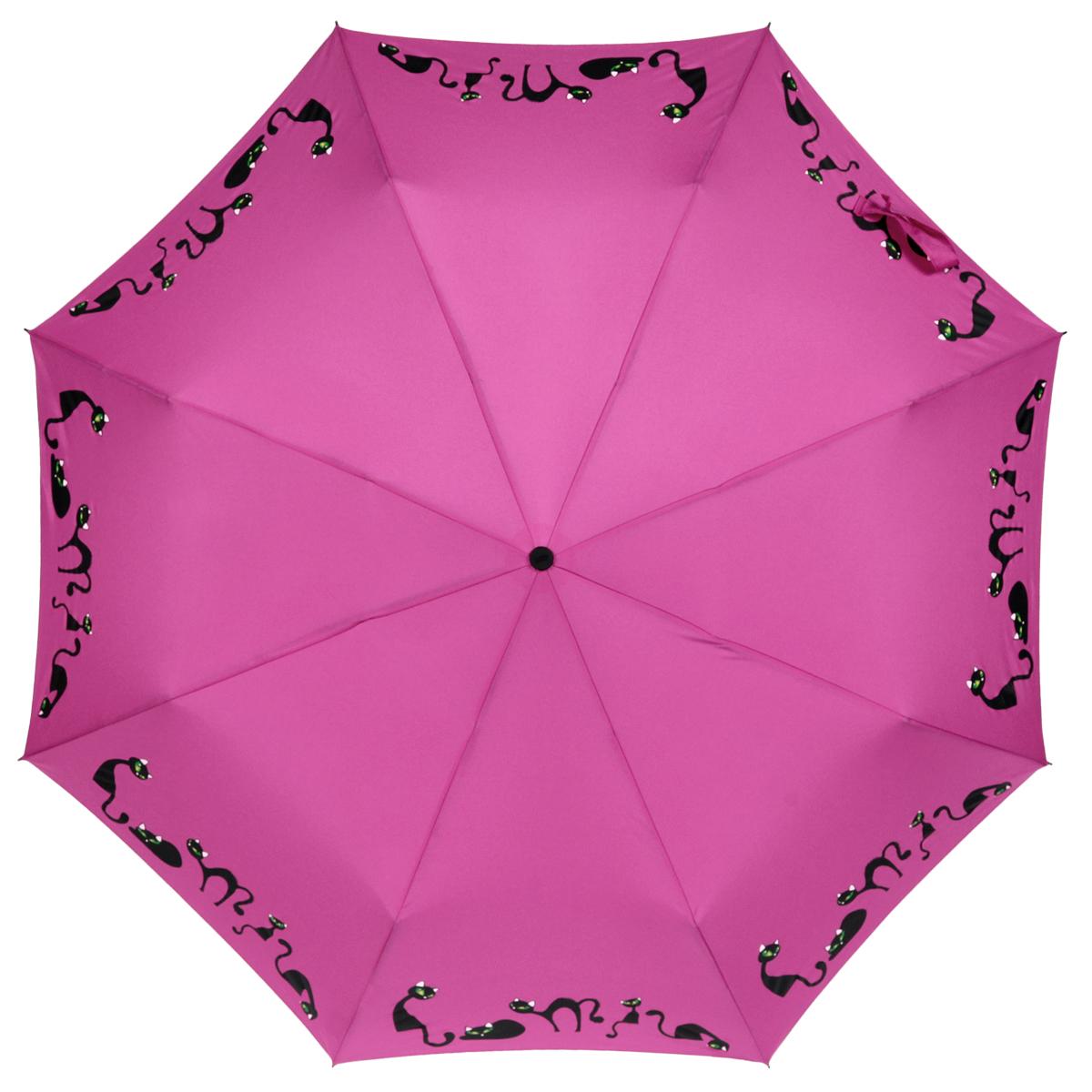Зонт женский Zest, автомат, 3 сложения, цвет: фиолетовый. 23929-102323929-1023Элегантный автоматический зонт Zest в 3 сложения изготовлен из высокопрочных материалов. Каркас зонта состоит из 8 спиц и прочного алюминиевого стержня. Специальная система Windproof защищает его от поломок во время сильных порывов ветра. Купол зонта выполнен из прочного полиэстера с водоотталкивающей пропиткой и оформлен изображением прелестных кошечек. Используемые высококачественные красители обеспечивают длительное сохранение свойств ткани купола. Рукоятка, разработанная с учетом требований эргономики, выполнена из пластика. Зонт имеет полный автоматический механизм сложения: купол открывается и закрывается нажатием кнопки на рукоятке, стержень складывается вручную до характерного щелчка. Благодаря этому открыть и закрыть зонт можно одной рукой, что чрезвычайно удобно при входе в транспорт или помещение. Небольшой шнурок, расположенный на рукоятке, позволяет надеть изделие на руку при необходимости. Модель закрывается при помощи хлястика на застежку-липучку. К зонту...