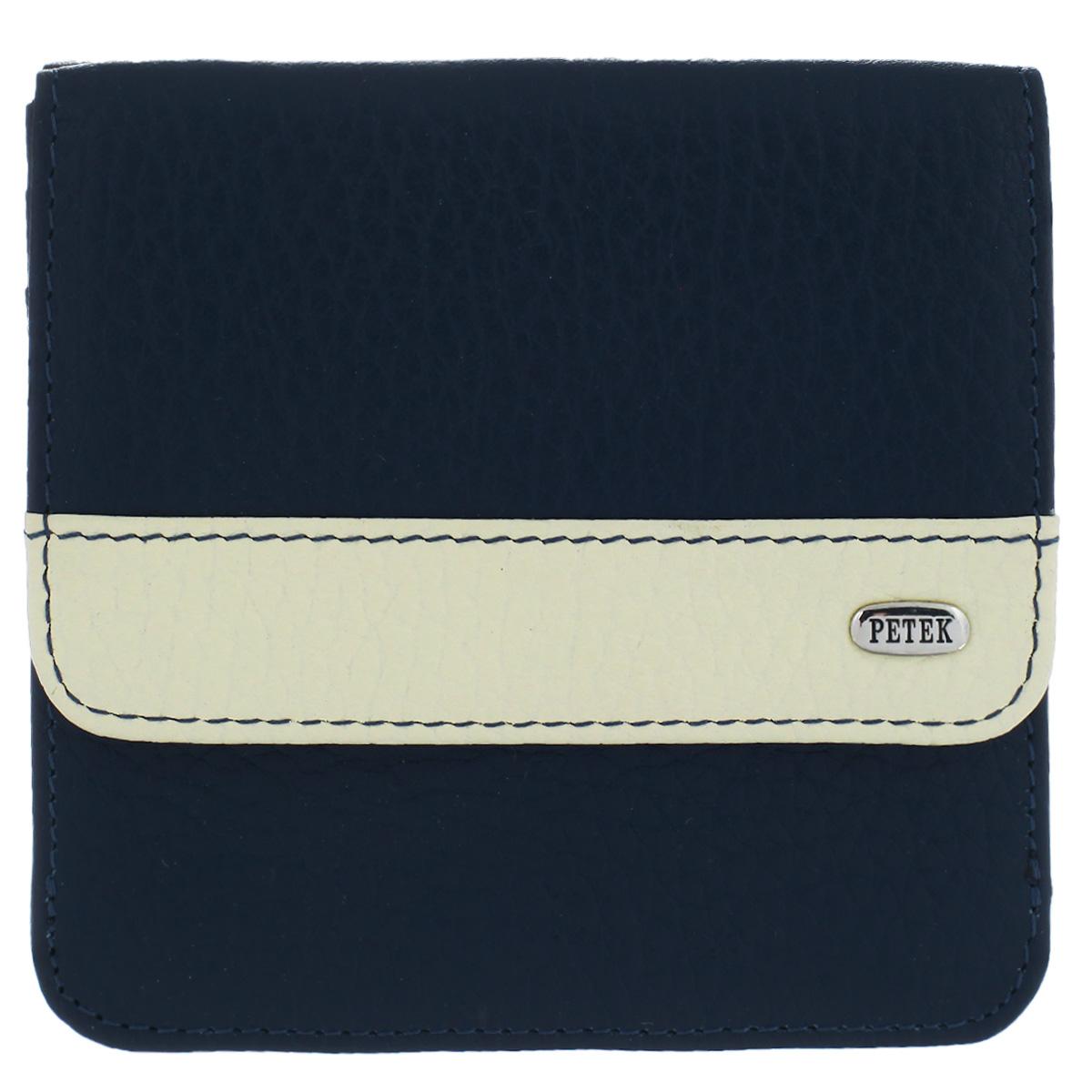 Petek 1855 Портмоне женское Petek, цвет: синий, кремовый. 355.46D. 88