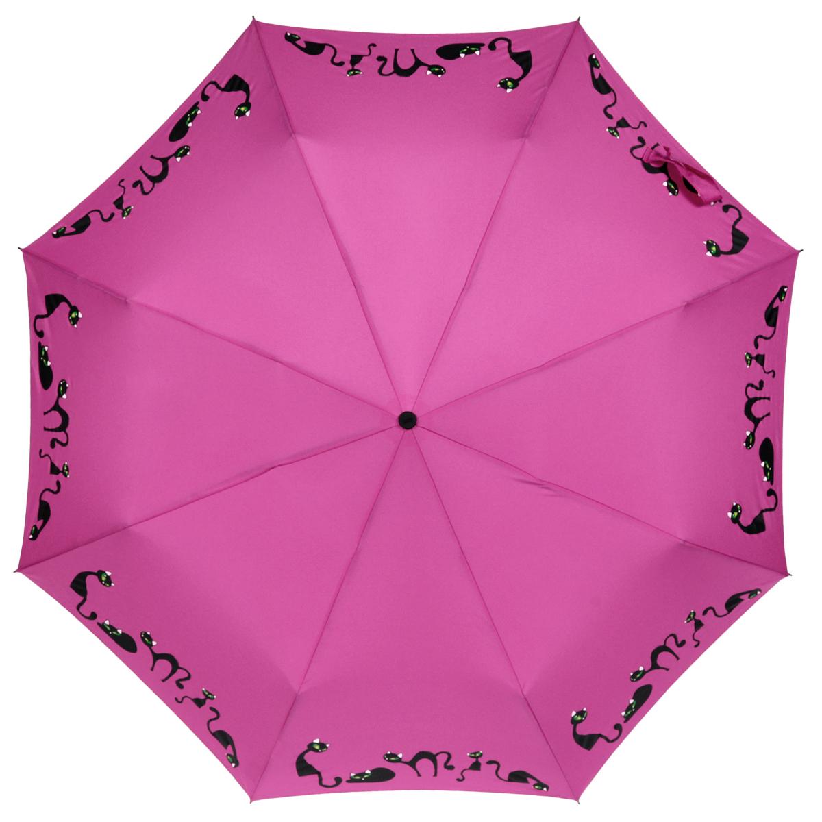 Зонт женский Zest, автомат, 4 сложения, цвет: фиолетовый. 24759-102324759-1023Элегантный автоматический зонт Zest в 4 сложения изготовлен из высокопрочных материалов. Каркас зонта состоит из 8 спиц и прочного алюминиевого стержня. Специальная система Windproof защищает его от поломок во время сильных порывов ветра. Купол зонта выполнен из прочного полиэстера с водоотталкивающей пропиткой и оформлен изображением прелестных кошечек. Используемые высококачественные красители обеспечивают длительное сохранение свойств ткани купола. Рукоятка, разработанная с учетом требований эргономики, выполнена из пластика. Зонт имеет полный автоматический механизм сложения: купол открывается и закрывается нажатием кнопки на рукоятке, стержень складывается вручную до характерного щелчка. Благодаря этому открыть и закрыть зонт можно одной рукой, что чрезвычайно удобно при входе в транспорт или помещение. Небольшой шнурок, расположенный на рукоятке, позволяет надеть изделие на руку при необходимости. Модель закрывается при помощи хлястика на застежку-липучку. К зонту...
