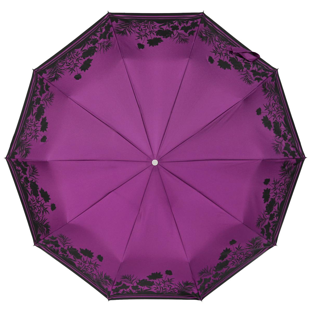 Зонт женский Zest, автомат, 3 сложения, цвет: фиолетовый, черный. 23969-011323969-0113Прелестный автоматический зонт Zest в 3 сложения изготовлен из высокопрочных материалов. Каркас зонта состоит из 10 спиц и прочного алюминиевого стержня. Специальная система Windproof защищает его от поломок во время сильных порывов ветра. Купол зонта выполнен из прочного полиэстера с водоотталкивающей пропиткой и оформлен растительным принтом. Края купола зонта дополнены тонкими полосками. Рукоятка, разработанная с учетом требований эргономики, выполнена из металла и искусственной кожи. Зонт имеет полный автоматический механизм сложения: купол открывается и закрывается нажатием кнопки на рукоятке, стержень складывается вручную до характерного щелчка. Благодаря этому открыть и закрыть зонт можно одной рукой, что чрезвычайно удобно при входе в транспорт или помещение. Небольшой шнурок, расположенный на рукоятке, позволяет надеть изделие на руку при необходимости. Модель закрывается при помощи хлястика на застежку-липучку. К зонту прилагается чехол, который оснащен двумя...