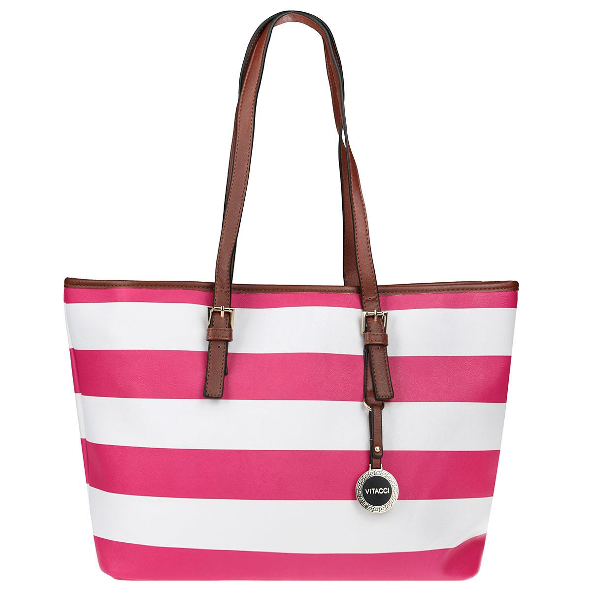 Сумка женская Vitacci, цвет: розовый, белый. NN014NN014Стильная женская сумка Vitacci выполнена из экокожи в полоску. Сумка имеет одно вместительное отделение, закрывающееся на застежку-молнию. Внутри - втачной карман на застежке-молнии и два накладных карманчика для мелочей и телефона. Модель оснащена двумя ручками, позволяющими носить сумку на плече. Они прочно крепятся к корпусу сумки, при желании можно регулировать высоту ручек. На одной ручке подвеска с логотипом фирмы. Сумка - это стильный аксессуар, который подчеркнет вашу изысканность и индивидуальность и сделает ваш образ завершенным.