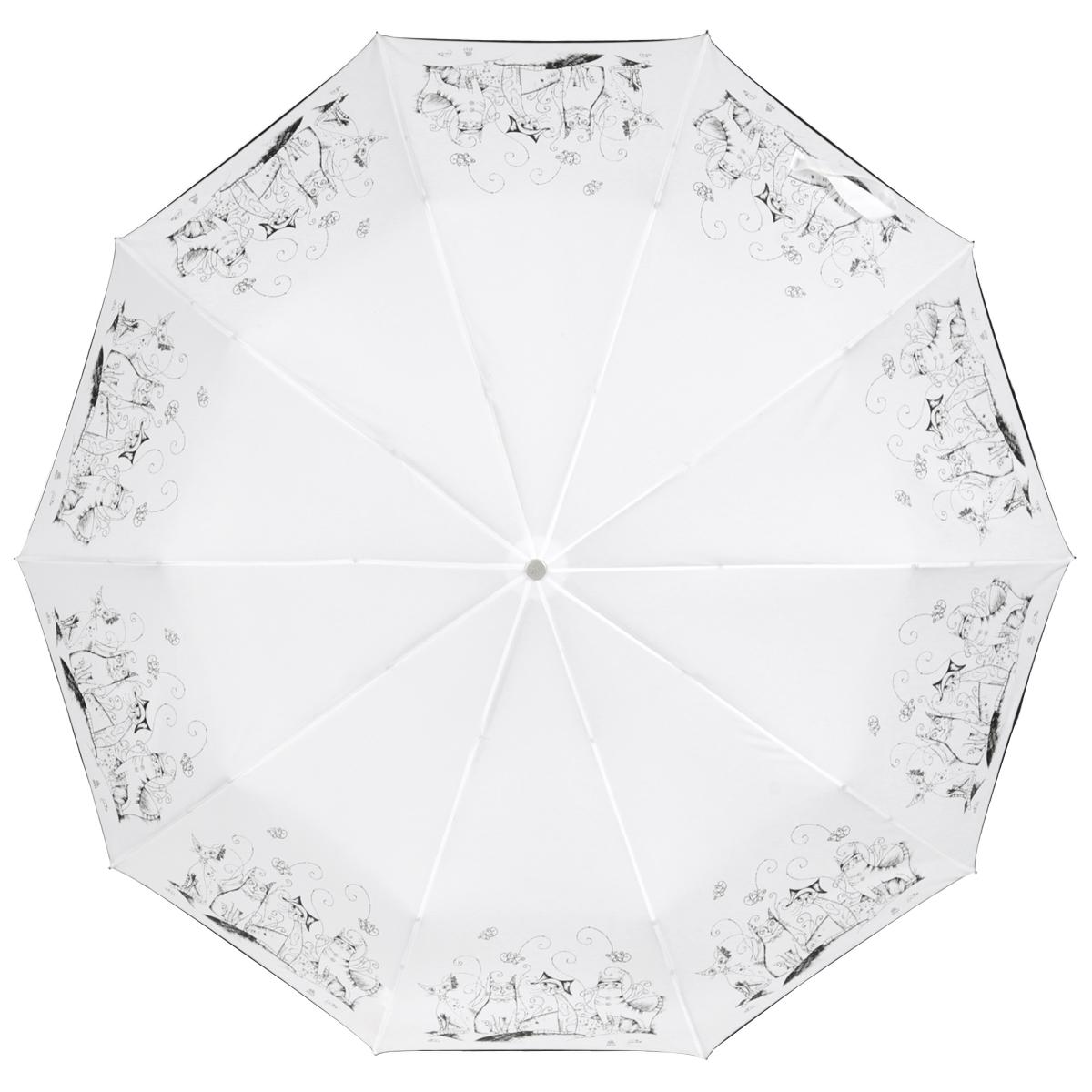 Зонт женский Zest, автомат, 3 сложения, цвет: белый, черный. 23969-005023969-0050Элегантный автоматический зонт Zest в 3 сложения изготовлен из высокопрочных материалов. Каркас зонта состоит из 10 спиц и прочного алюминиевого стержня. Специальная система Windproof защищает его от поломок во время сильных порывов ветра. Купол зонта выполнен из прочного полиэстера с водоотталкивающей пропиткой и оформлен забавным изображением котиков. Рукоятка, разработанная с учетом требований эргономики, выполнена из металла и искусственной кожи. Зонт имеет полный автоматический механизм сложения: купол открывается и закрывается нажатием кнопки на рукоятке, стержень складывается вручную до характерного щелчка. Благодаря этому открыть и закрыть зонт можно одной рукой, что чрезвычайно удобно при входе в транспорт или помещение. Небольшой шнурок, расположенный на рукоятке, позволяет надеть изделие на руку при необходимости. Модель закрывается при помощи хлястика на застежку-липучку. К зонту прилагается чехол, который оснащен двумя удобными ручками. Прелестный зонт...