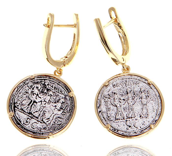 Серьги Древние монеты. Ювелирный сплав, покрытие золотом 750 пробы 1 микрон. Nina Ford, Испания12-0975